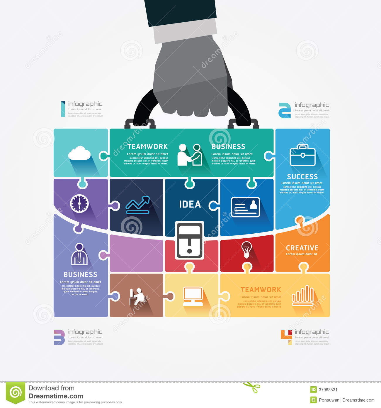 infographic template with businessman hand hold ba stock