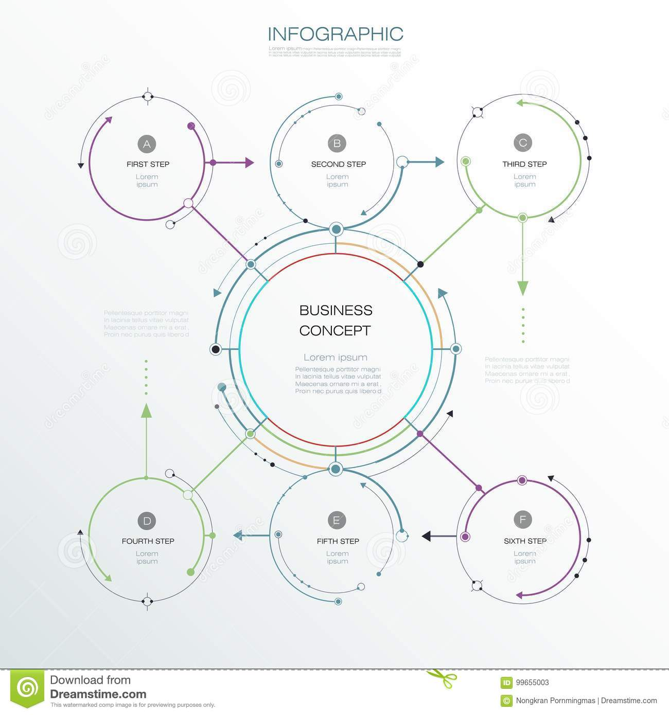 Vector Infographic template, circle design with arrows sign