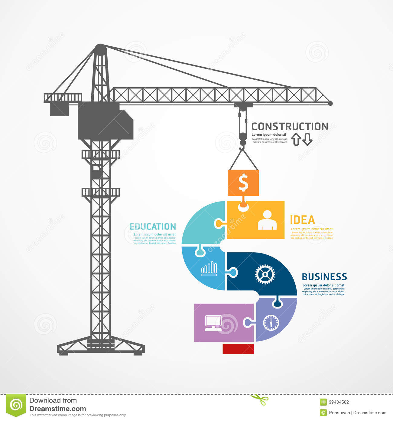 Infographic template with construction tower crane jigsaw for Construction info