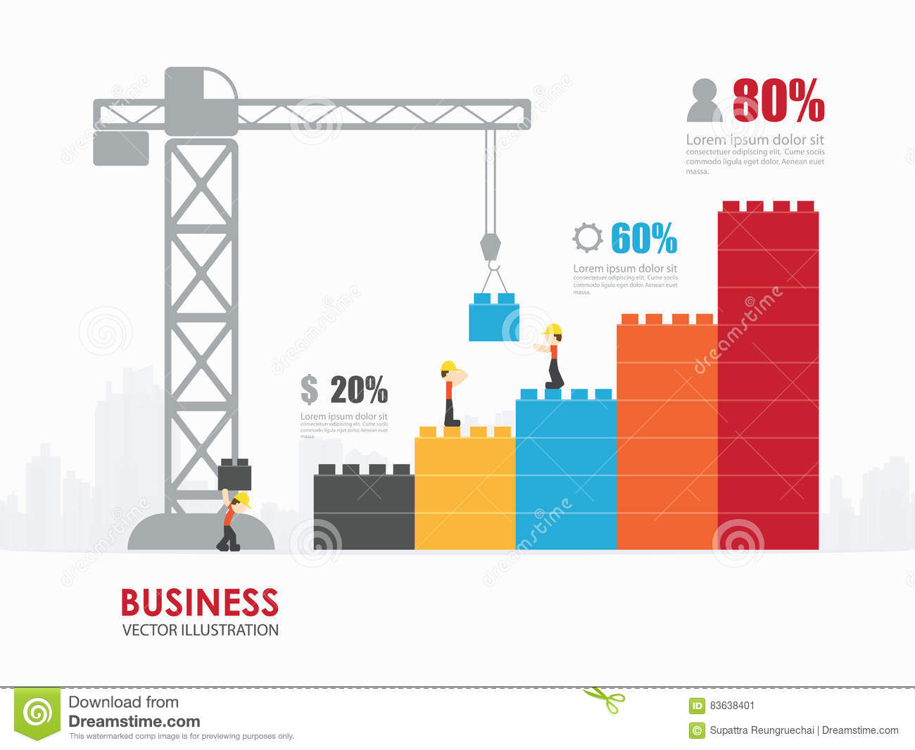 infographic template with crane building blocks stock vector