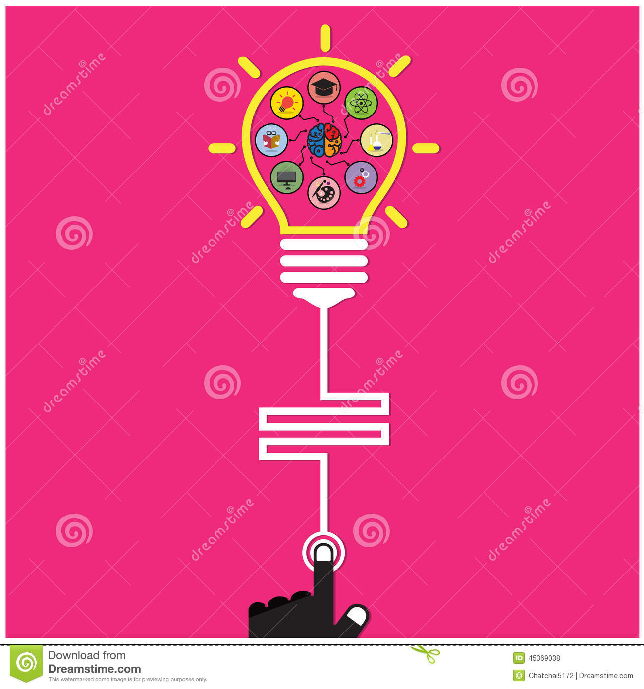 Infographic Template Creative Light Bulb And Brain