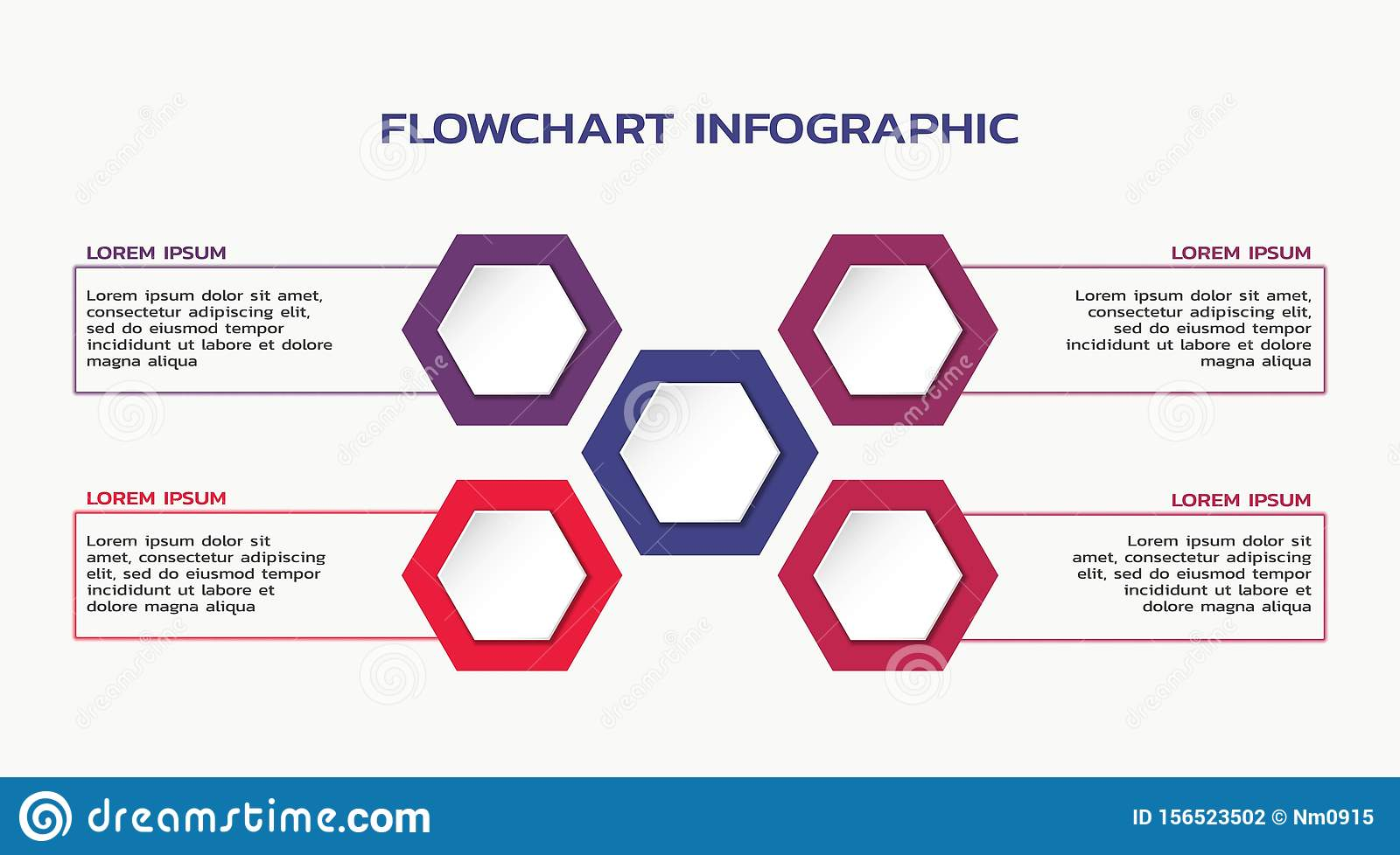 Infographic template design. flowchart with hexagon and four text boxes