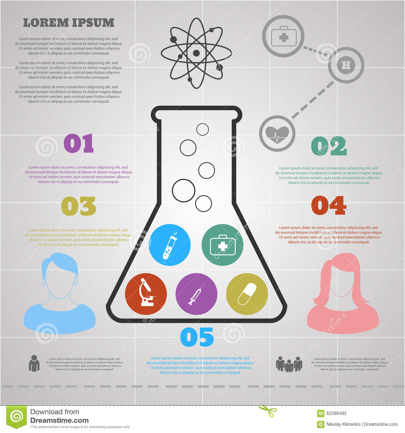 Infographic Template With Flask Silhouette And Icons Science Stock ...
