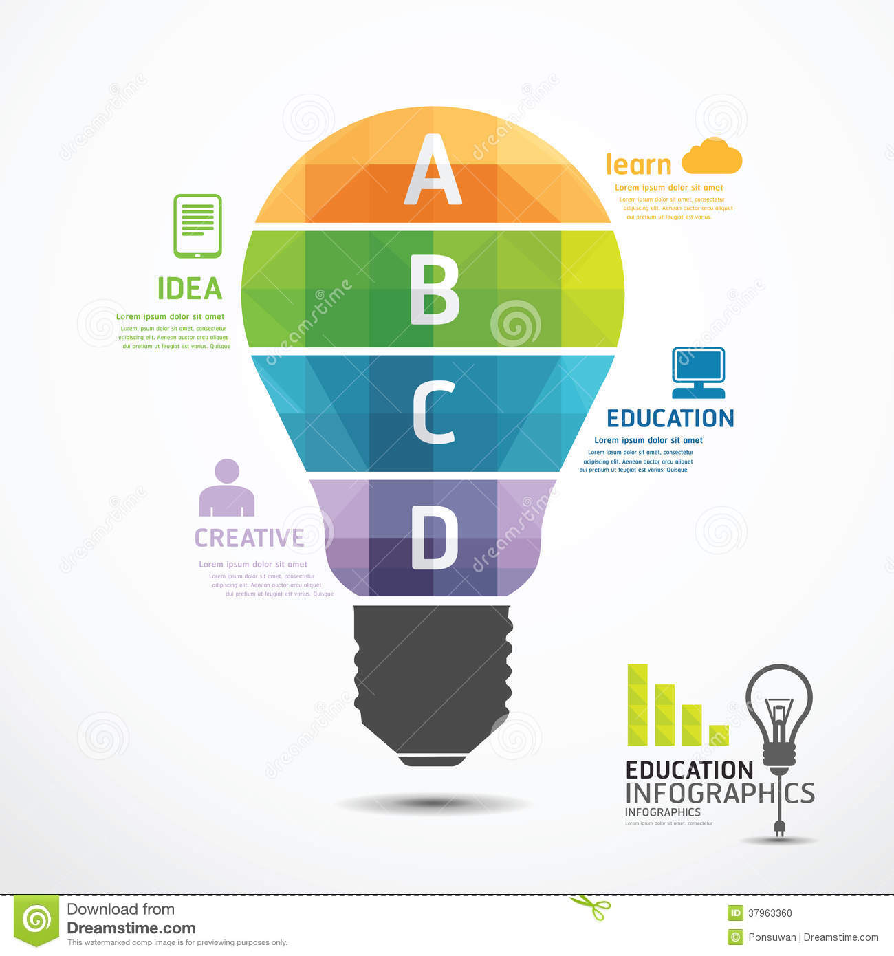 Infographic Template geometric Light bulbs banner