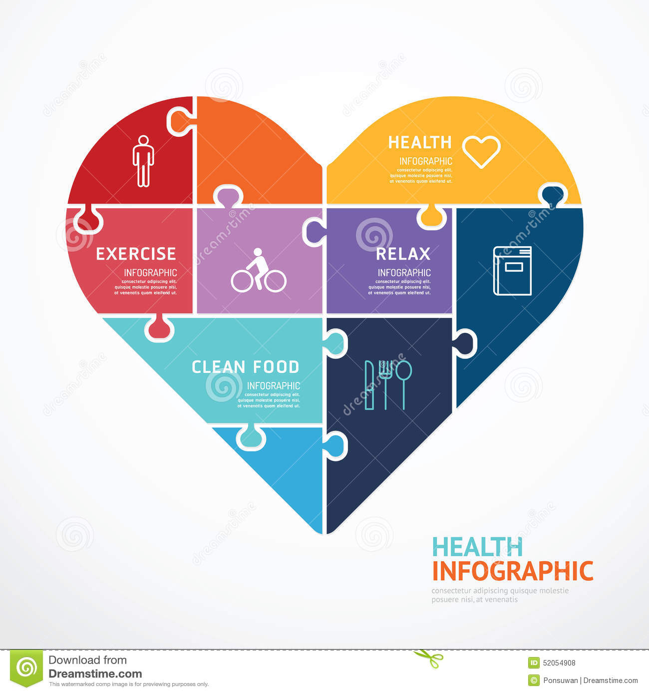 infographic template with heart shape jigsaw banner concept stock