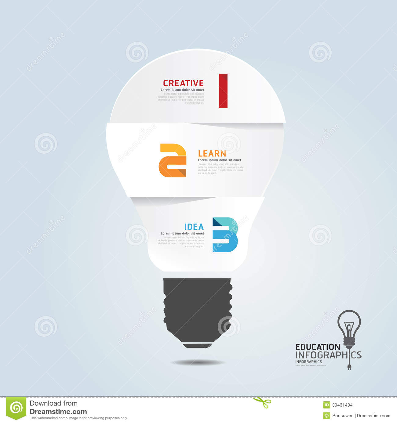 Infographic Template With Light Bulbs Paper Cut Banner . Concept Stock ...