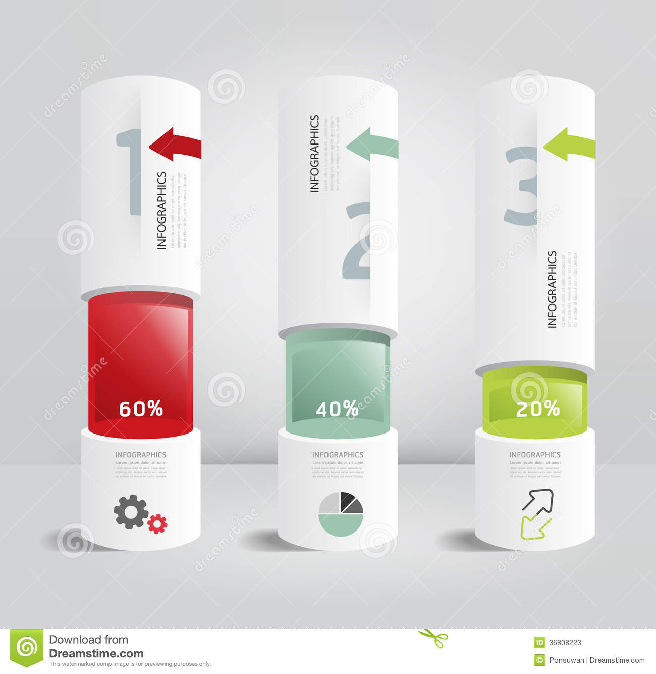 cylinder packaging template - infographic template modern box cylinder design minimal