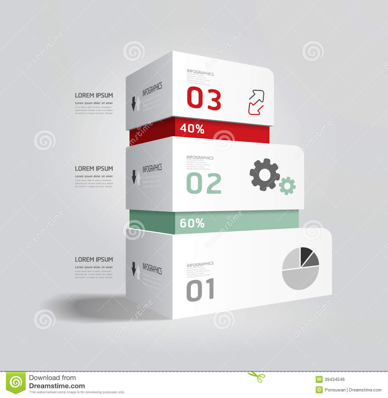 Infographic Template Modern Box Design Minimal Style Stock Vector