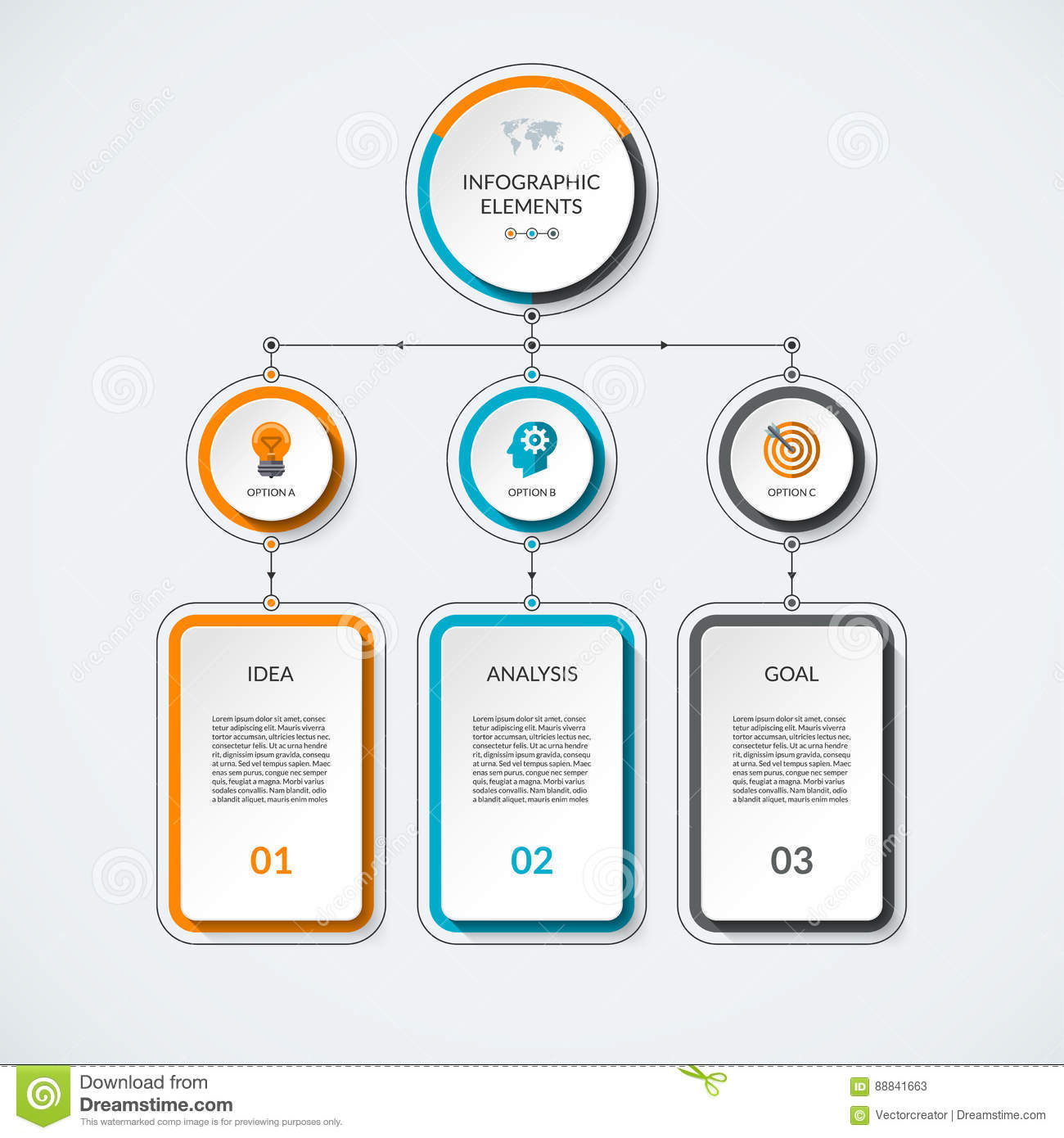 infographic template with 3 option circles and columns