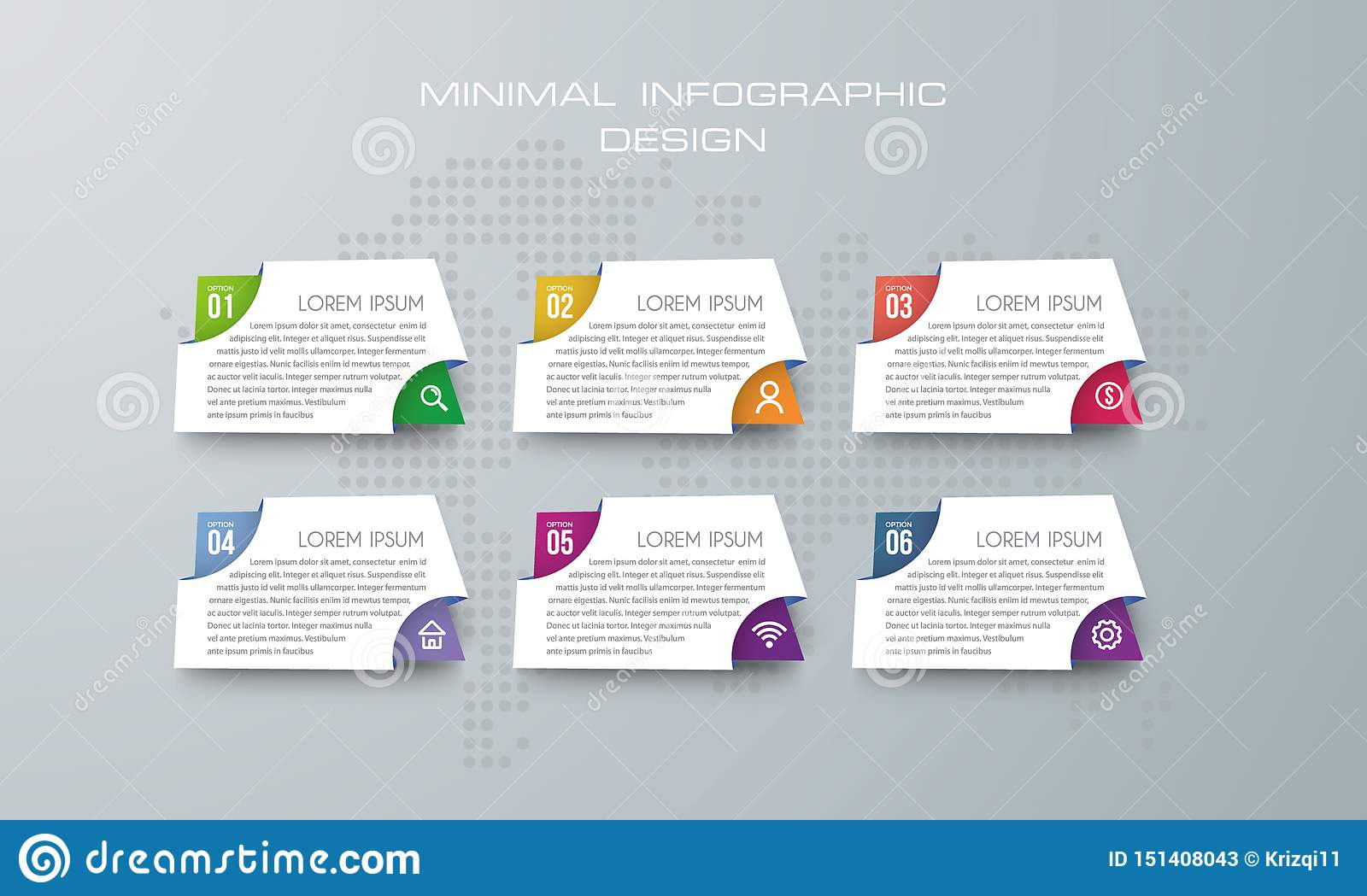 Infographic template with 6 options, banner option for infographic