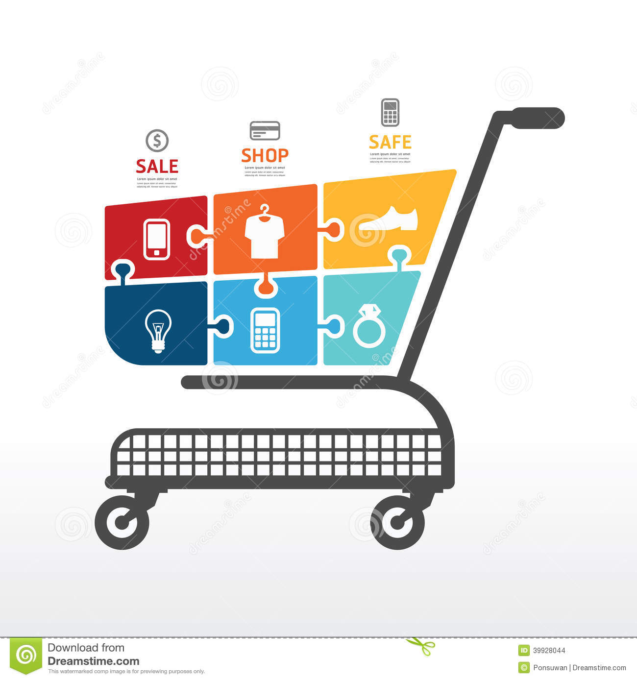 Infographic Template With Shopping Cart Jigsaw Banner