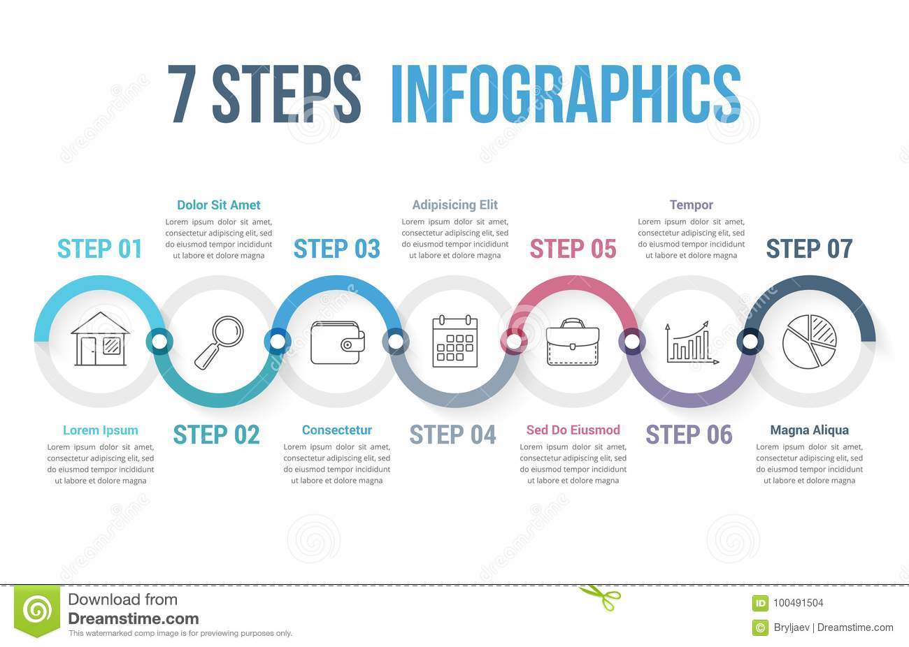 7 steps infographics stock vector  illustration of options