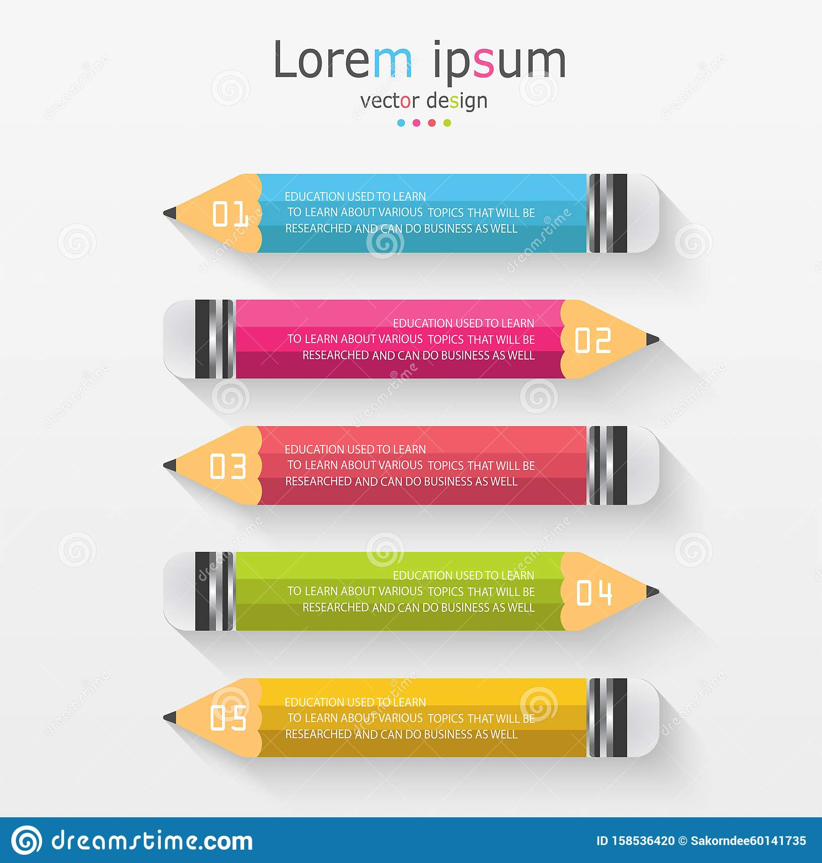 Infographic template with 5 steps Pencil with colored ribbons