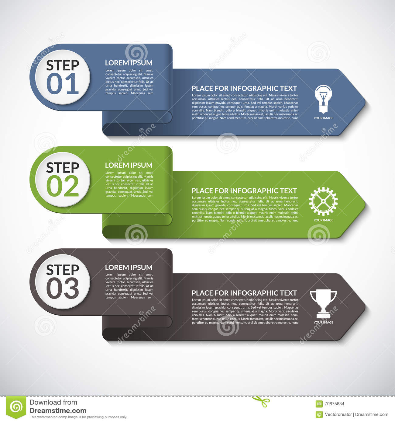 infographic template vector banner with 3 steps parts options arrows