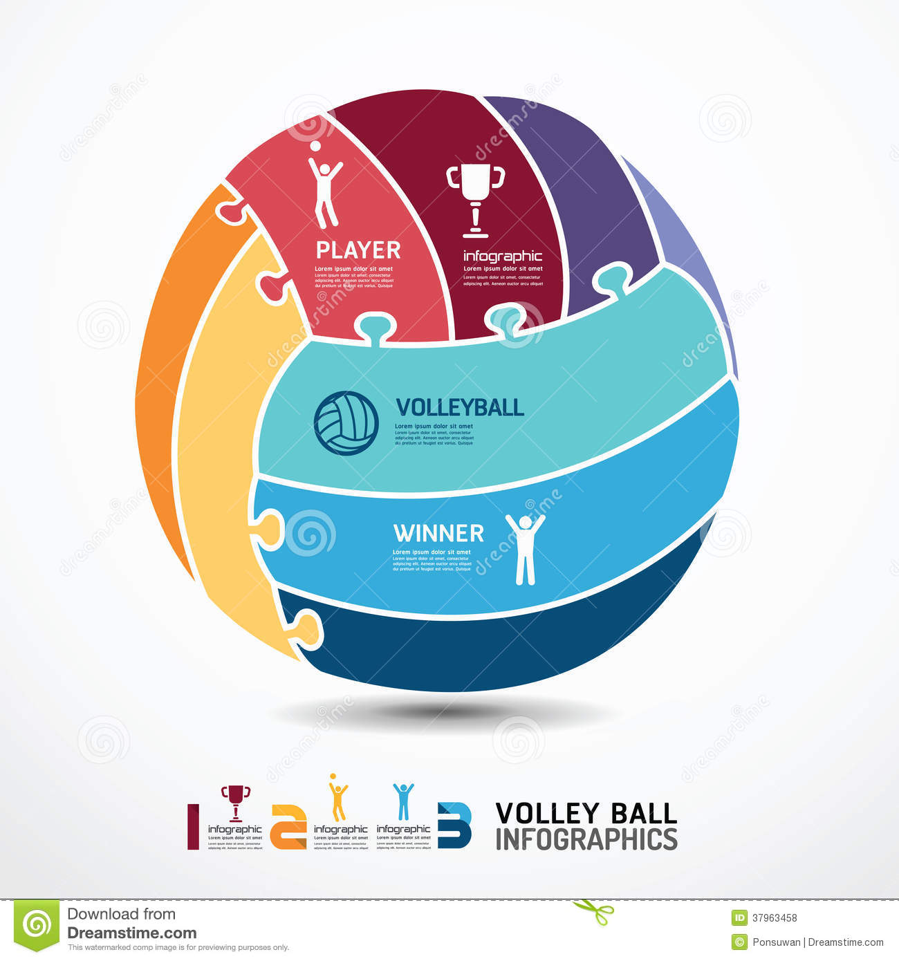 Infographic Template With Volleyball Jigsaw Banner Royalty ...