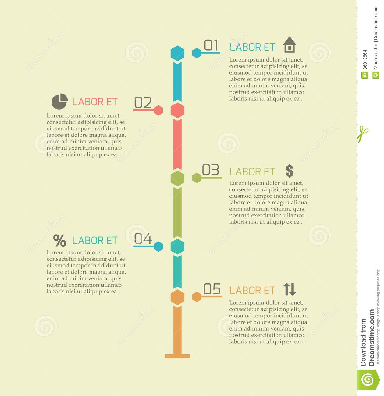 Infographic Timeline Chart Elements Stock Illustration