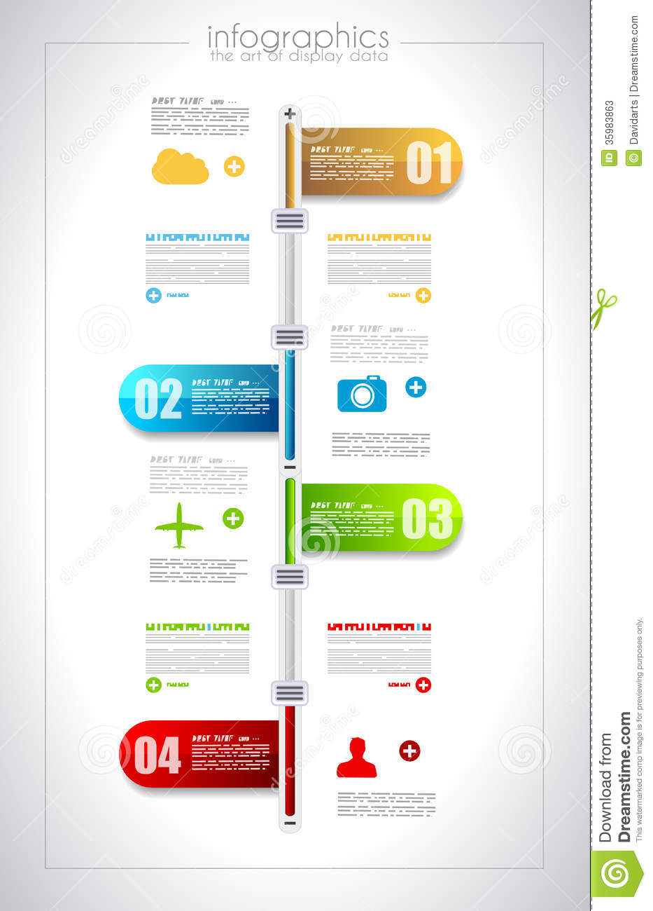 infographic timeline design template with paper tags stock