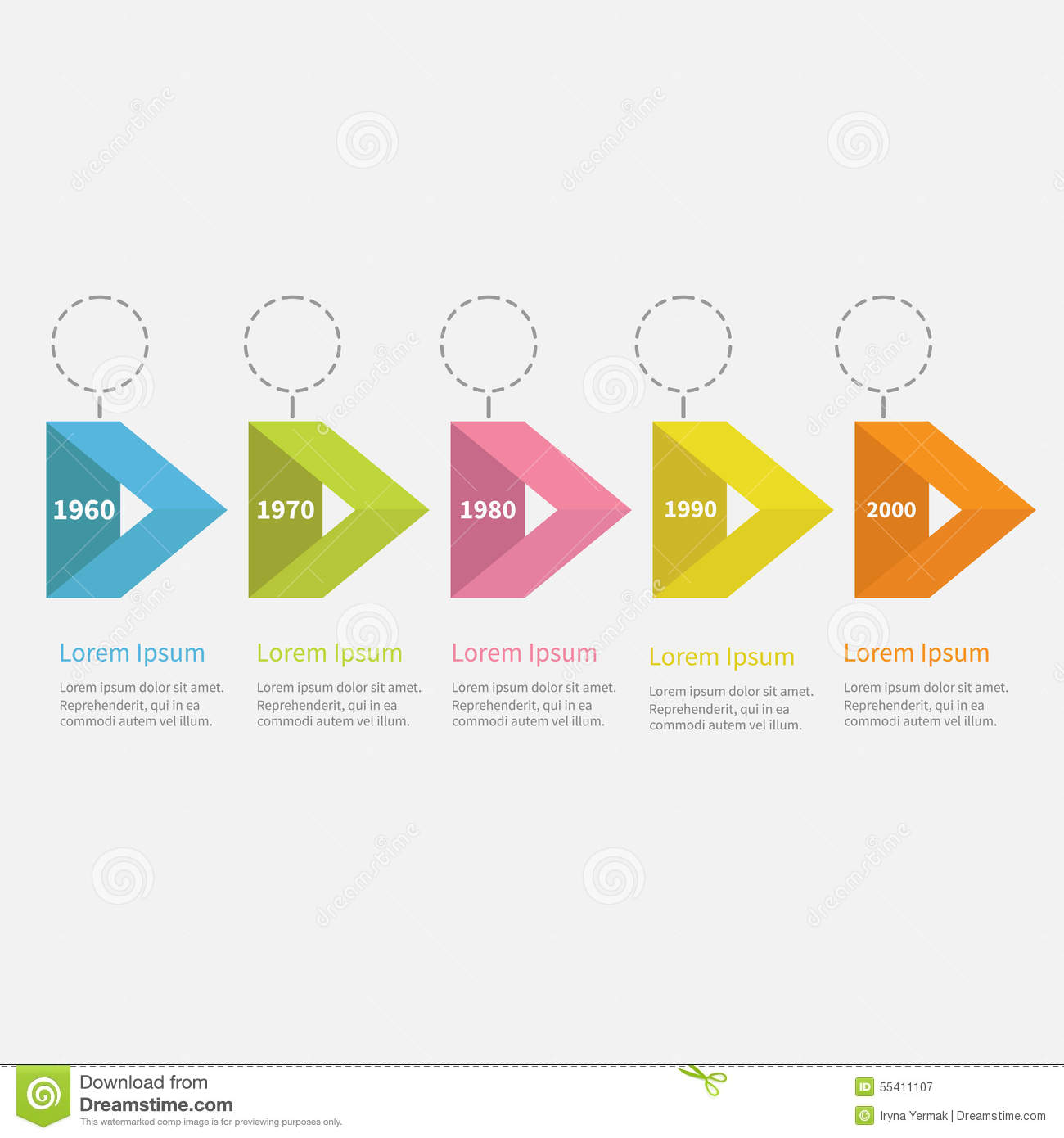 Infographic Timeline Five Step Ribbon Empty Arrow Dashed