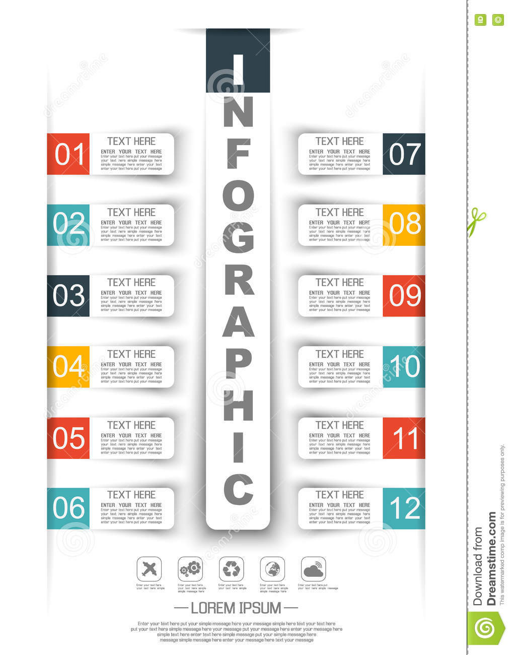 infographic timeline paper template twelve options two stock vector