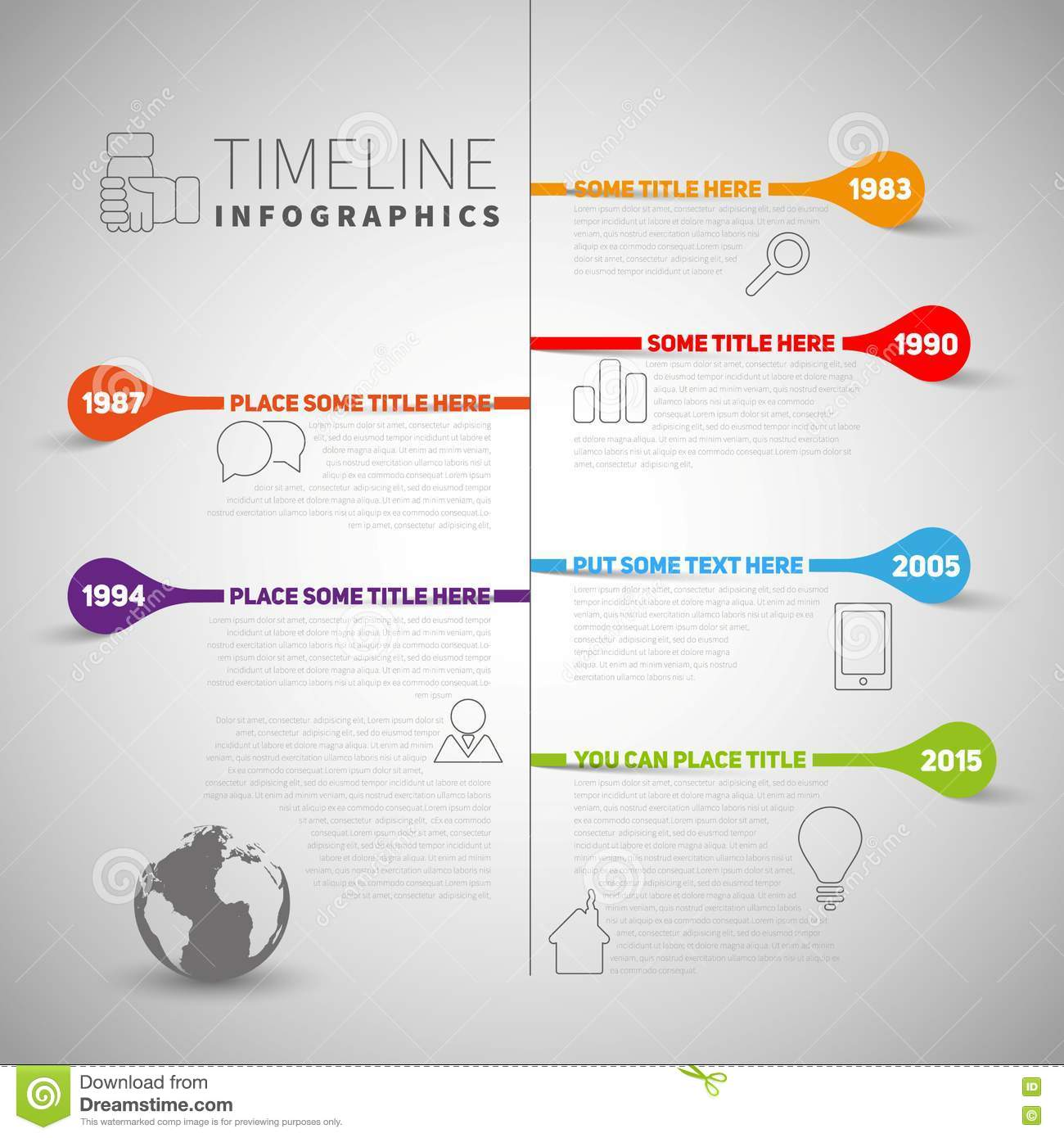 infographic timeline report template with company or life milestones  icons  years and color
