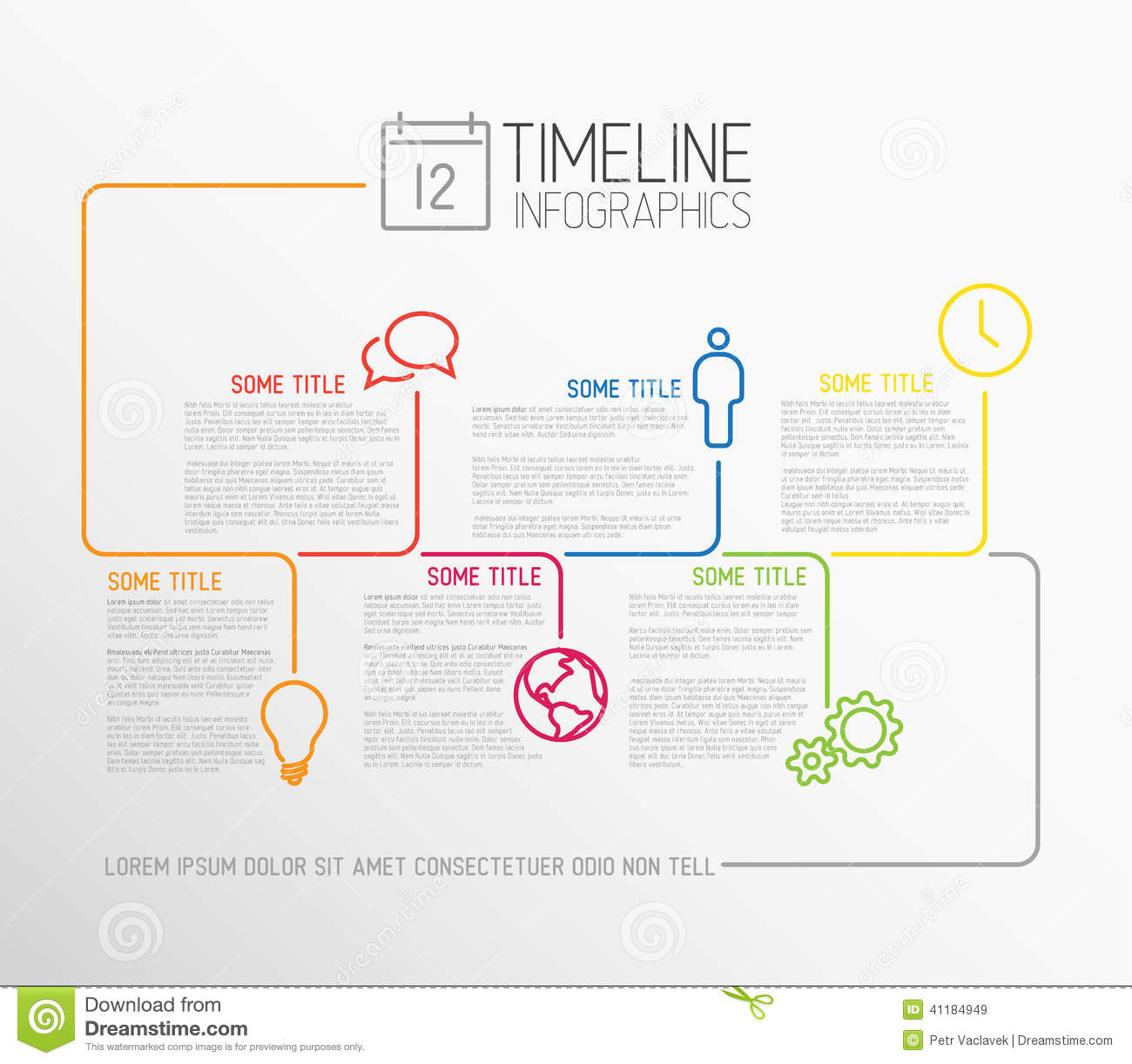 infographic timeline report template with lines stock