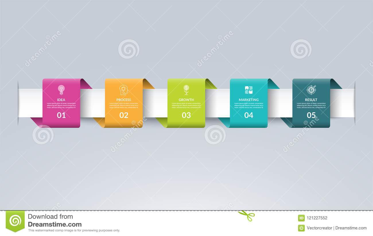 infographic timeline template in the form of colored paper tapes