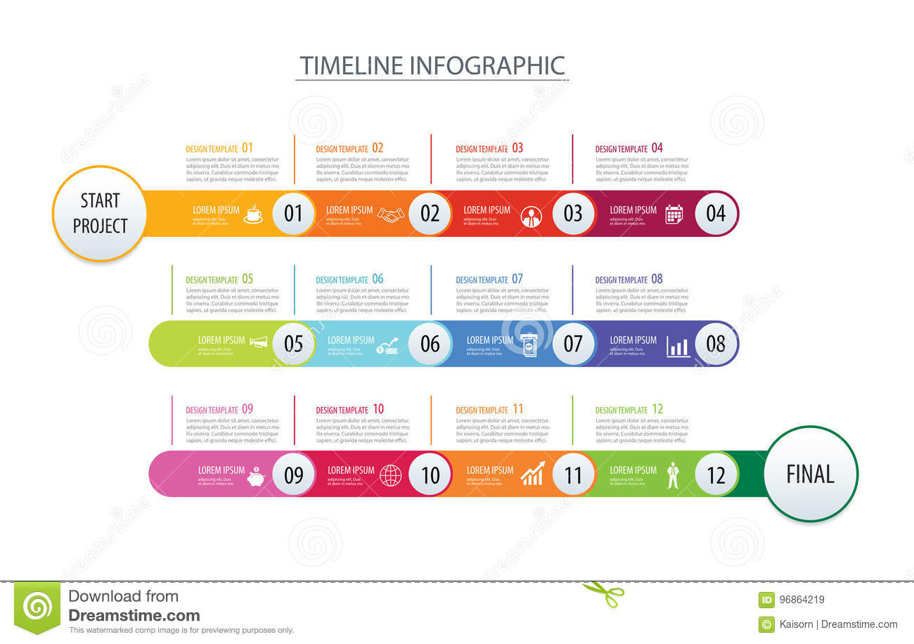 infographic timeline 1 year template business concept