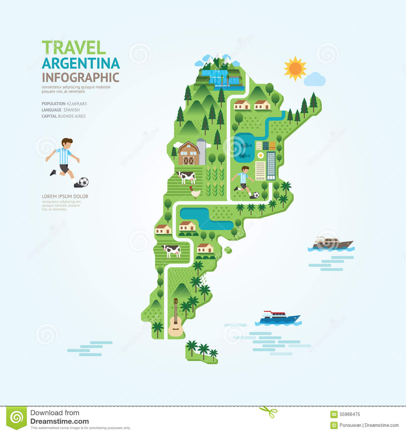 Infographic Travel And Landmark Argentina Map Shape Template Des - Argentina travel map