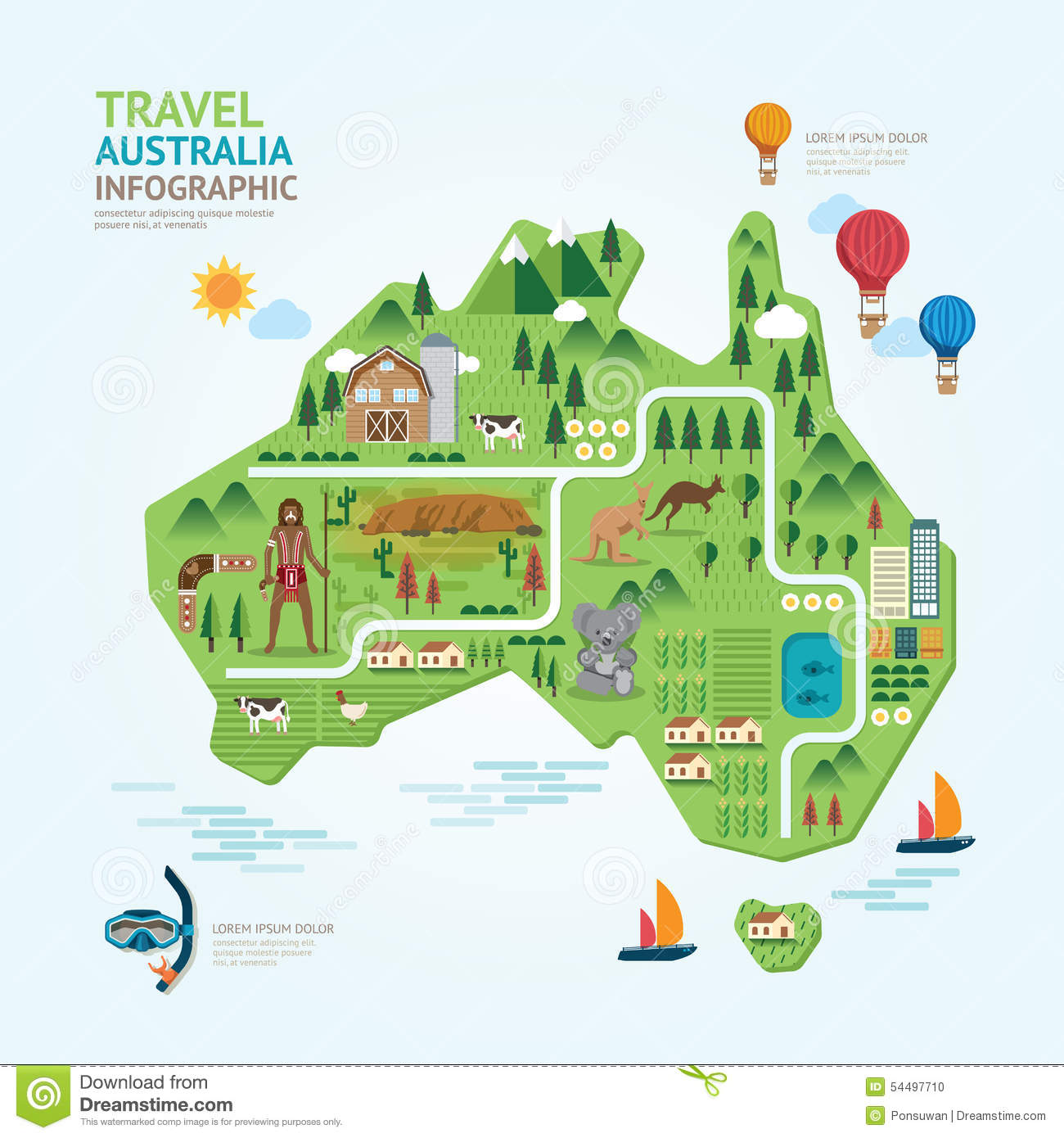 Australia Map Landmarks.Infographic Travel And Landmark Australia Map Shape Template Stock