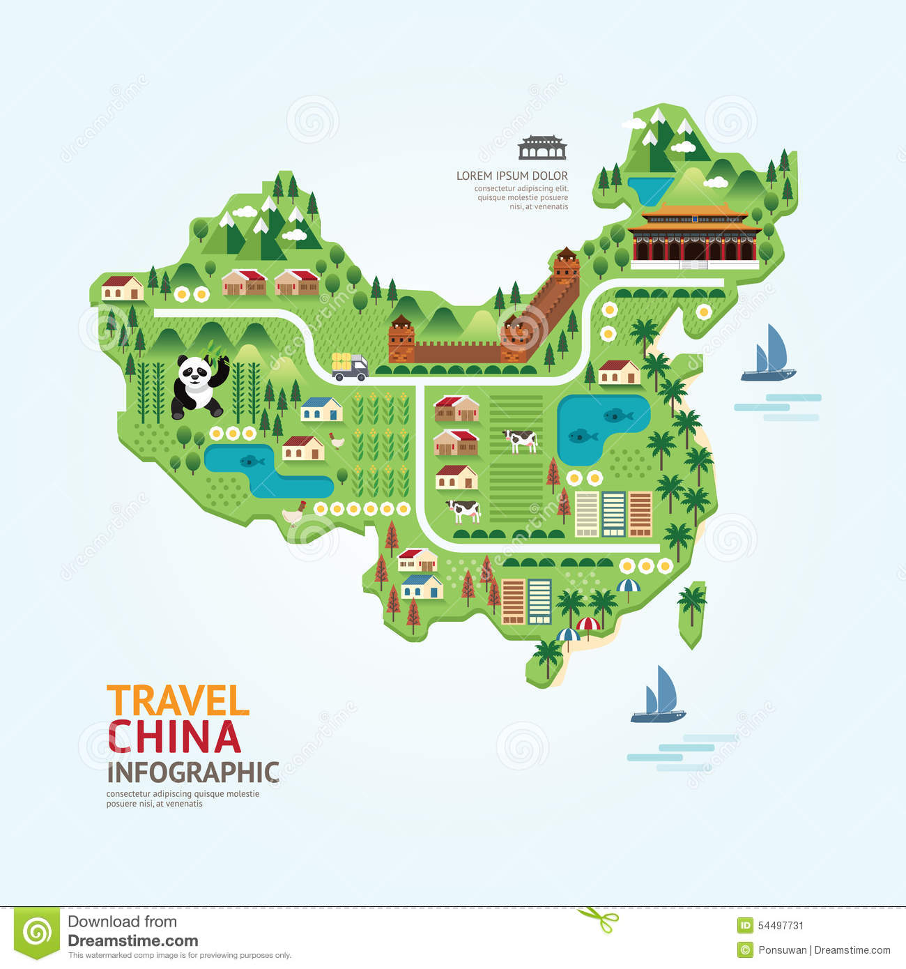 Infographic Travel And Landmark China Map Shape Template Design. Stock ...