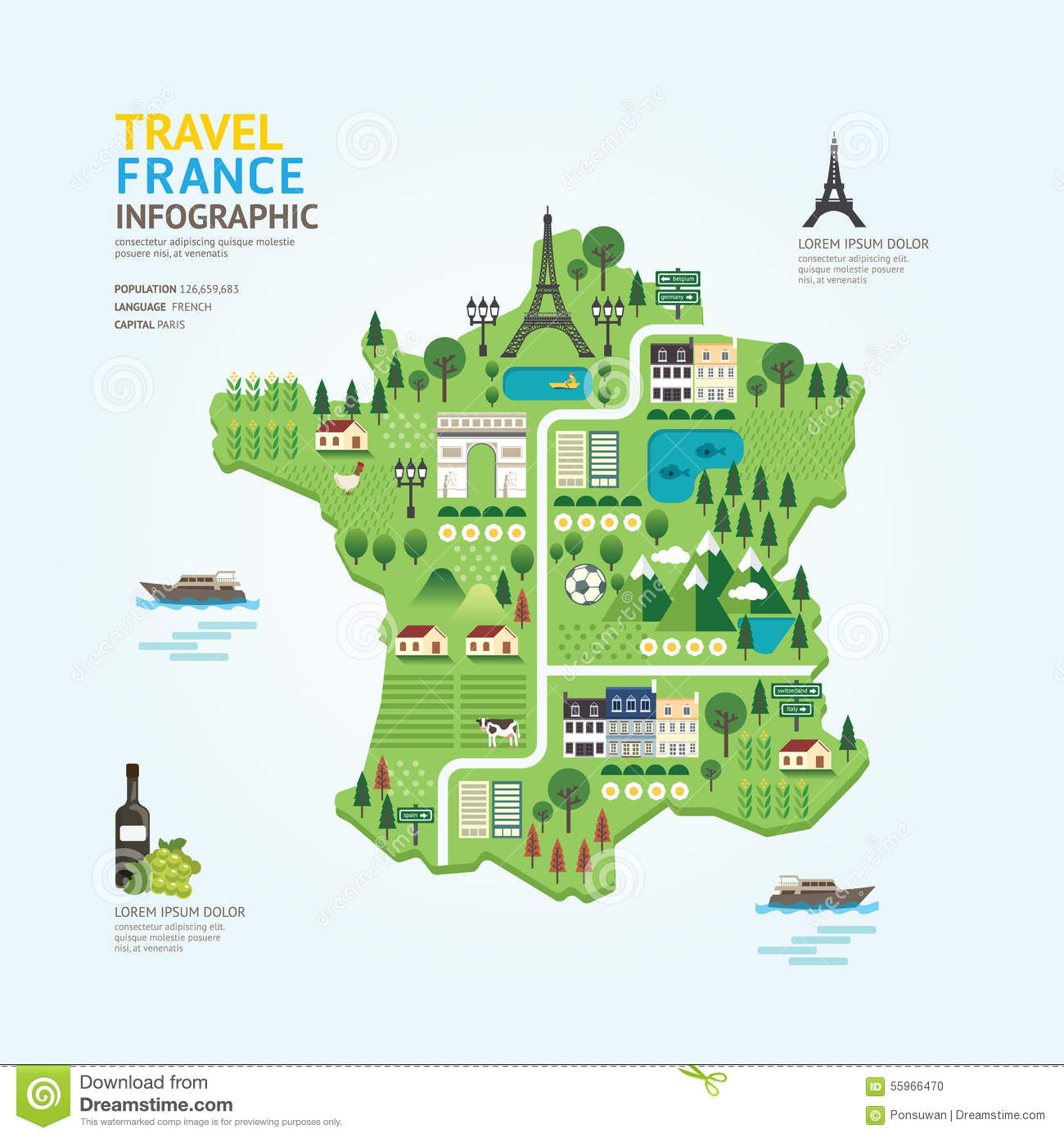 Infographic Travel And Landmark France Map Shape Template Design ...