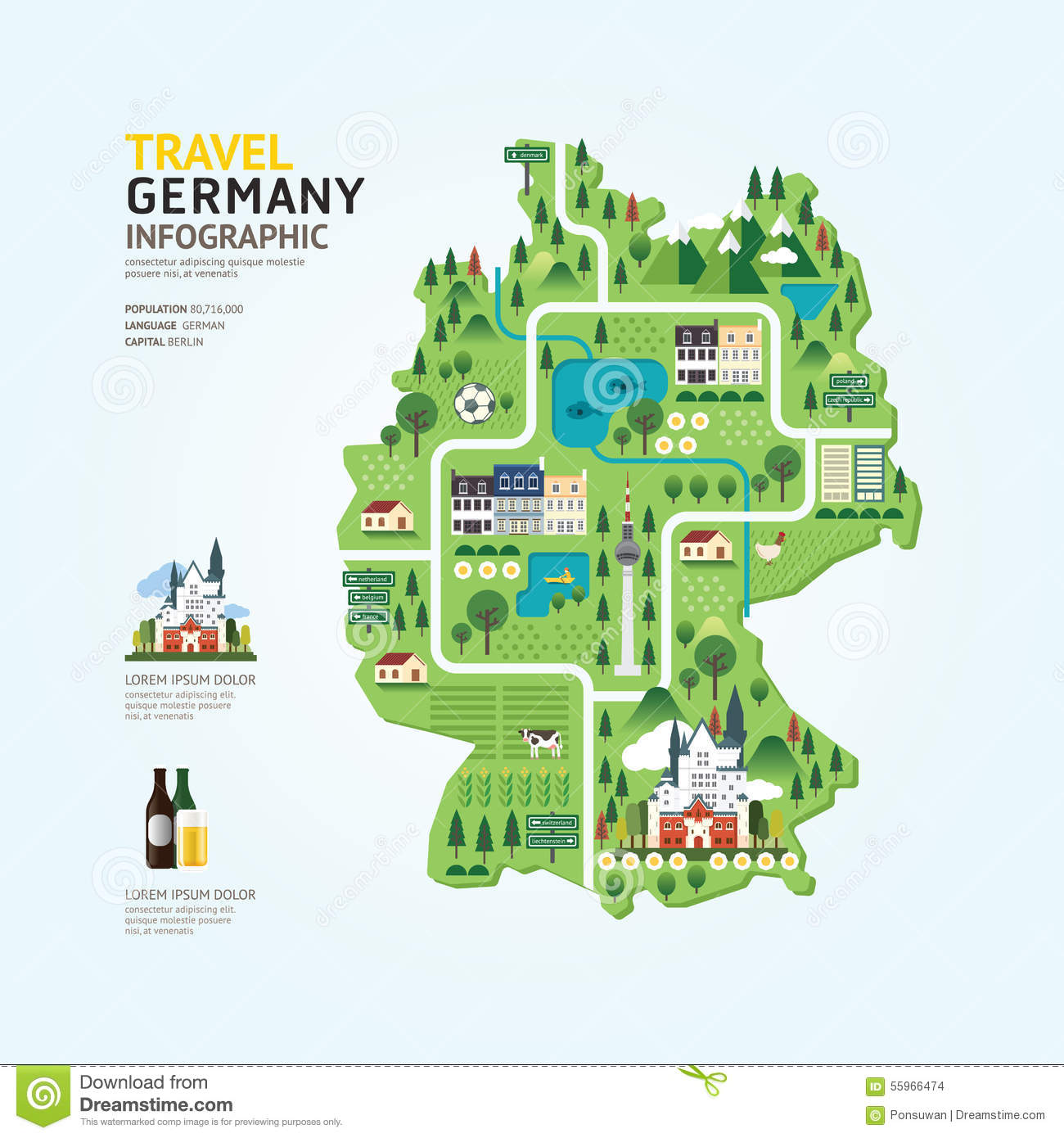 Infographic Travel And Landmark Germany Map Shape Template Desig – Germany Travel Map