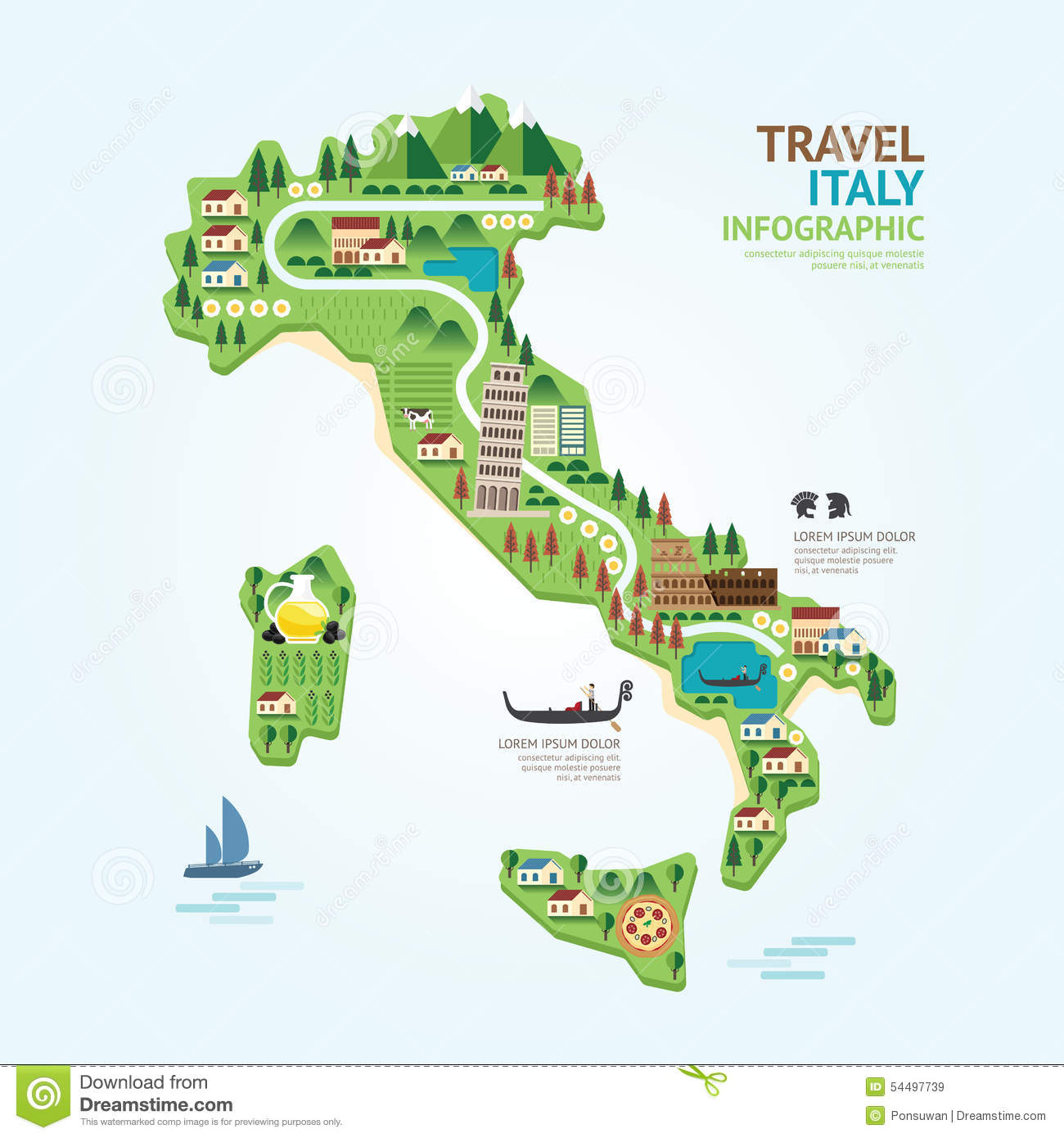 Infographic Travel And Landmark Italy Map Shape Template Design – Travel Map Of Italy