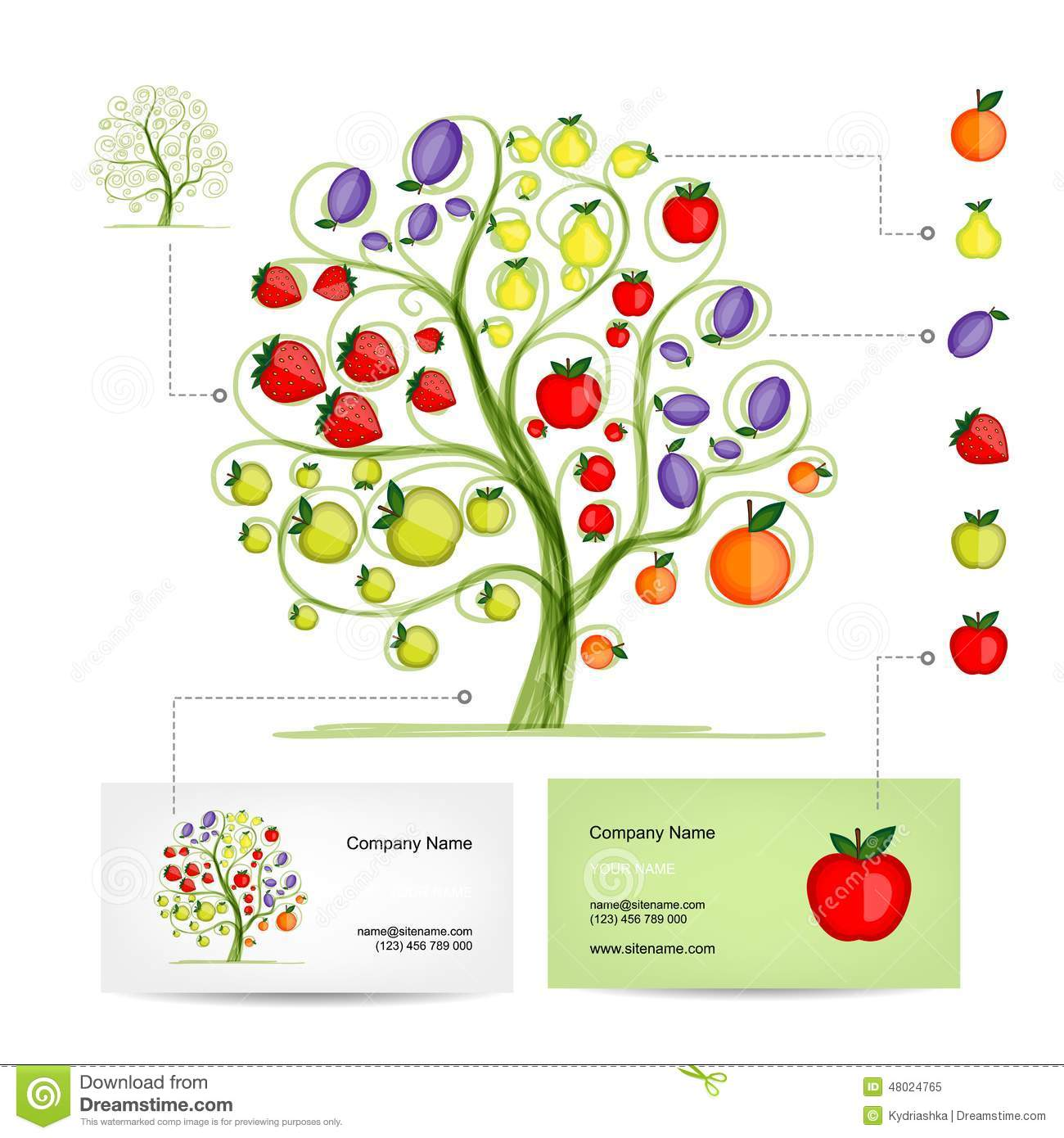Infographic tree with fruits business card stock vector infographic tree with fruits business card wajeb Images