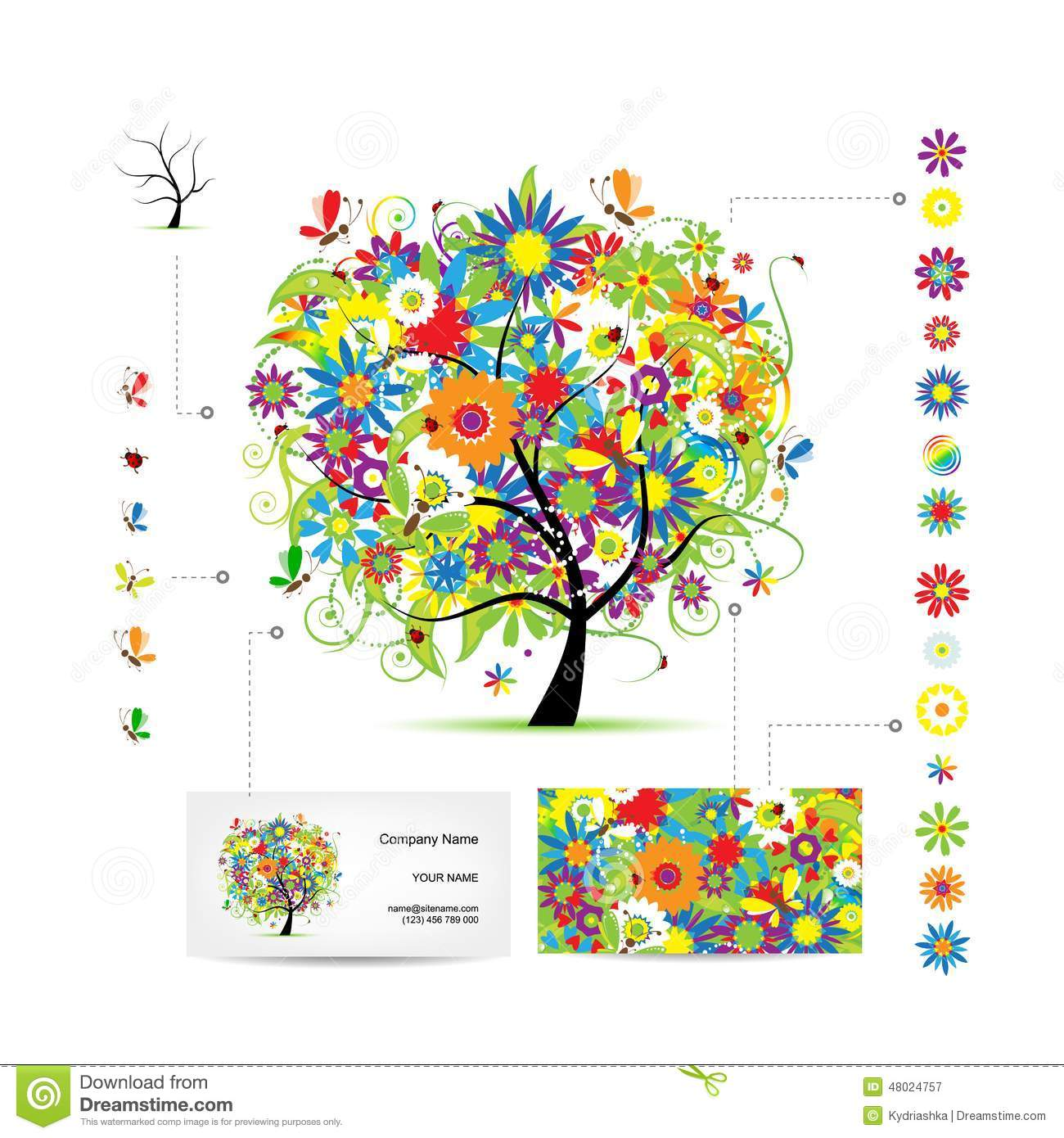 Infographic tree with funny birds business card stock vector download comp accmission Choice Image