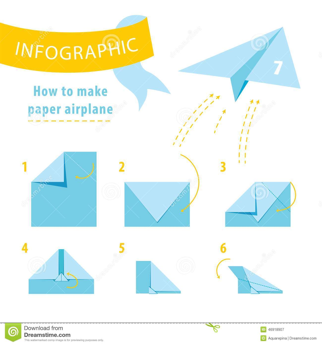Infographic Tutorial. How To Make Paper Airplane. Stock Vector ...