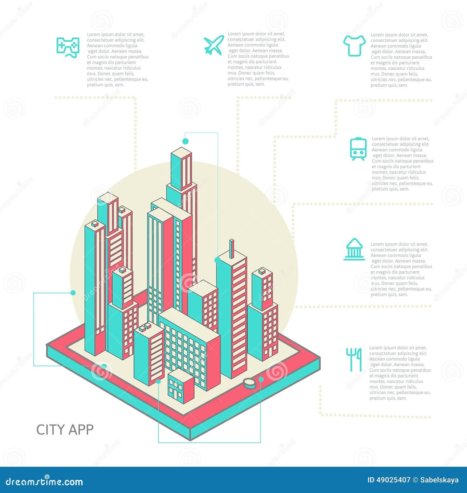 Infographic van kleurrijke gebouwen wordt gemaakt dat