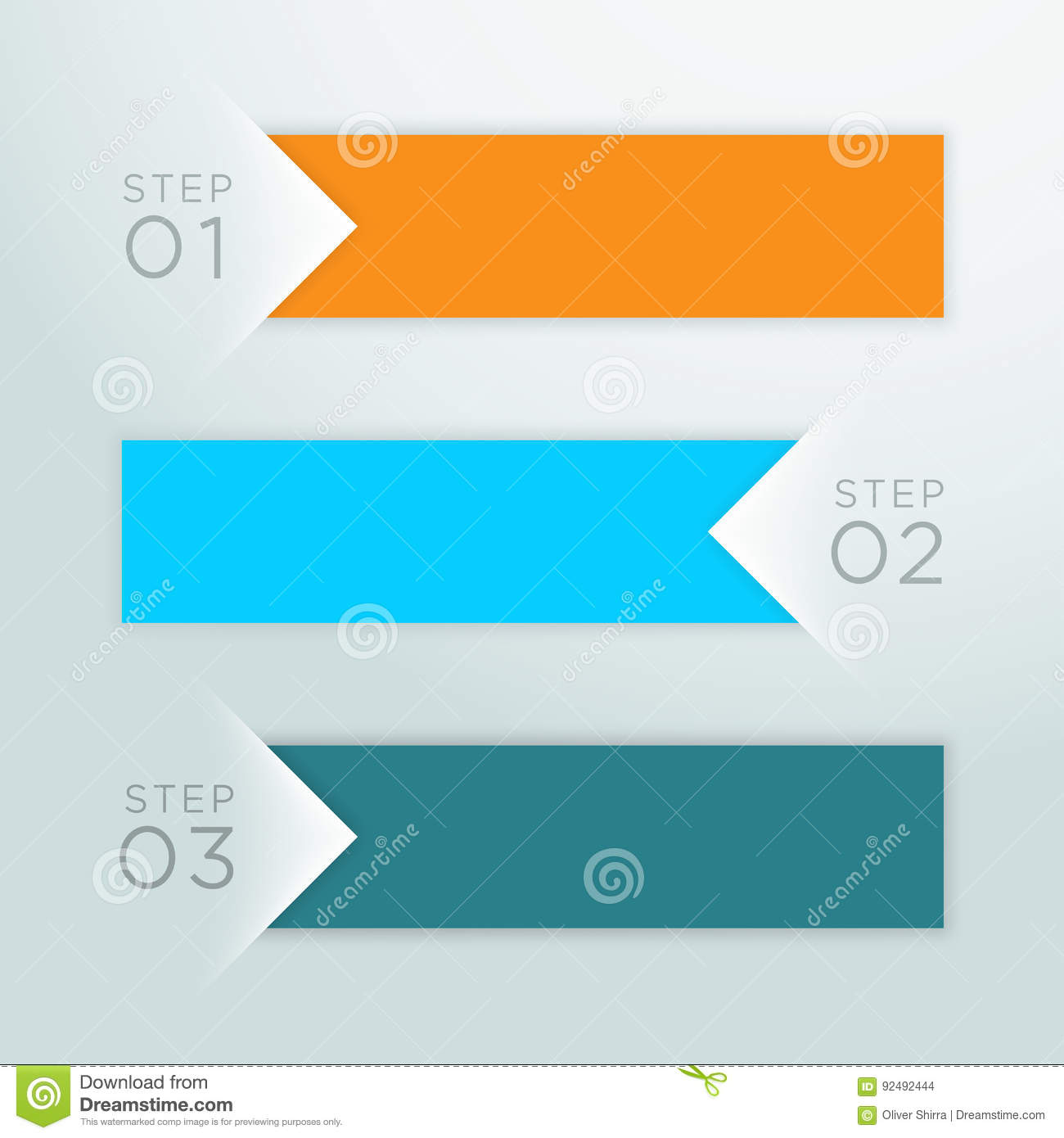 Infographic Vector Arrow Point Steps 1 To 3 Template A ...