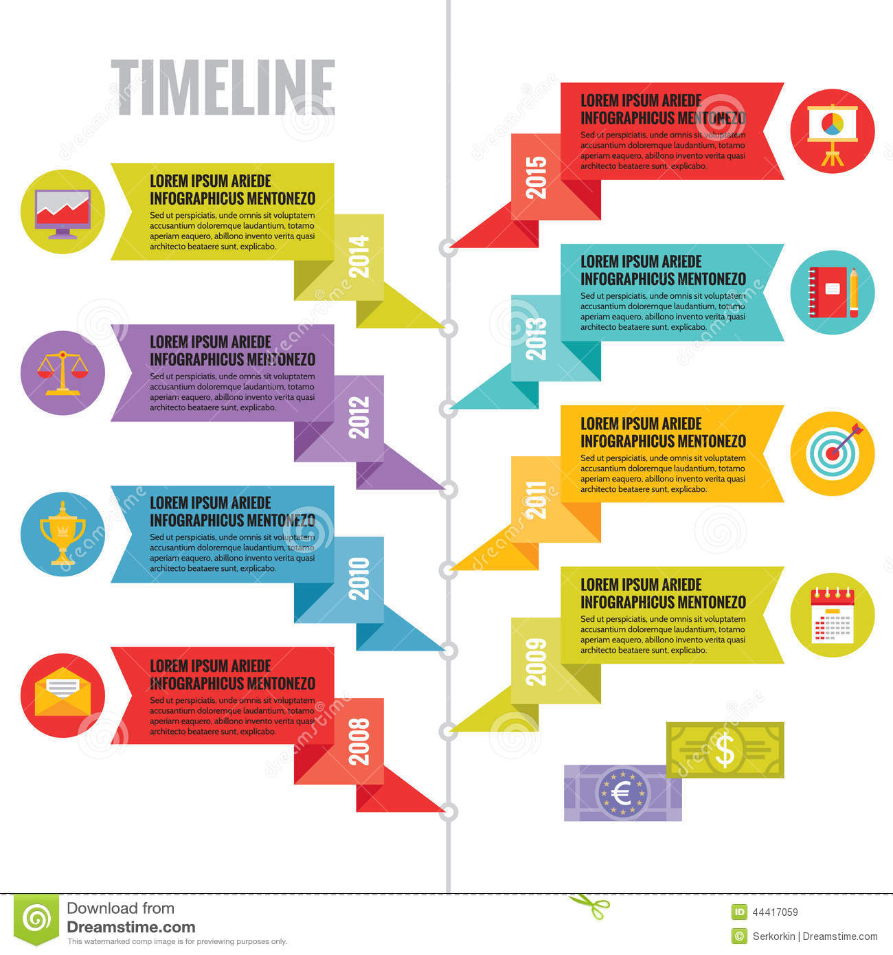 Creative Powerpoint Timeline Template: Infographic Vector Concept In Flat Design Style