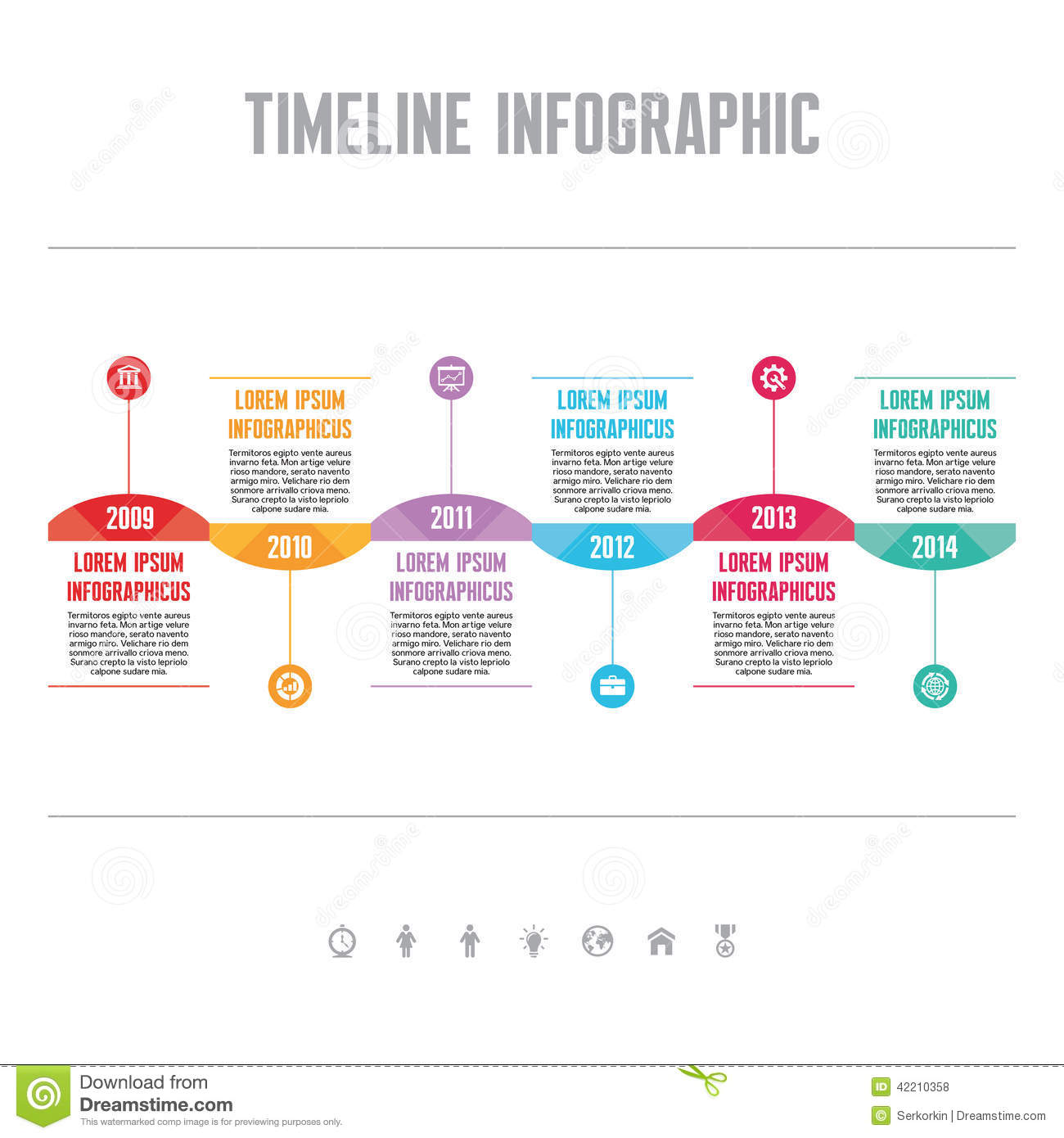 Infographic vector concept in flat design style timeline for Timline template