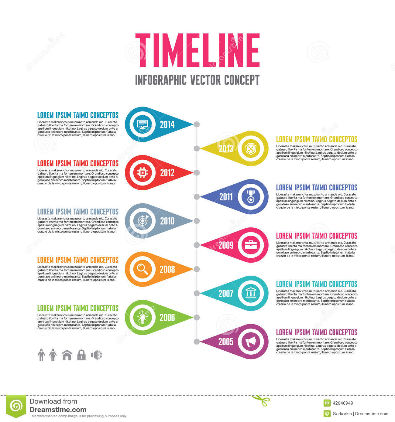visual style guide template - infographic vector concept in flat design style timeline