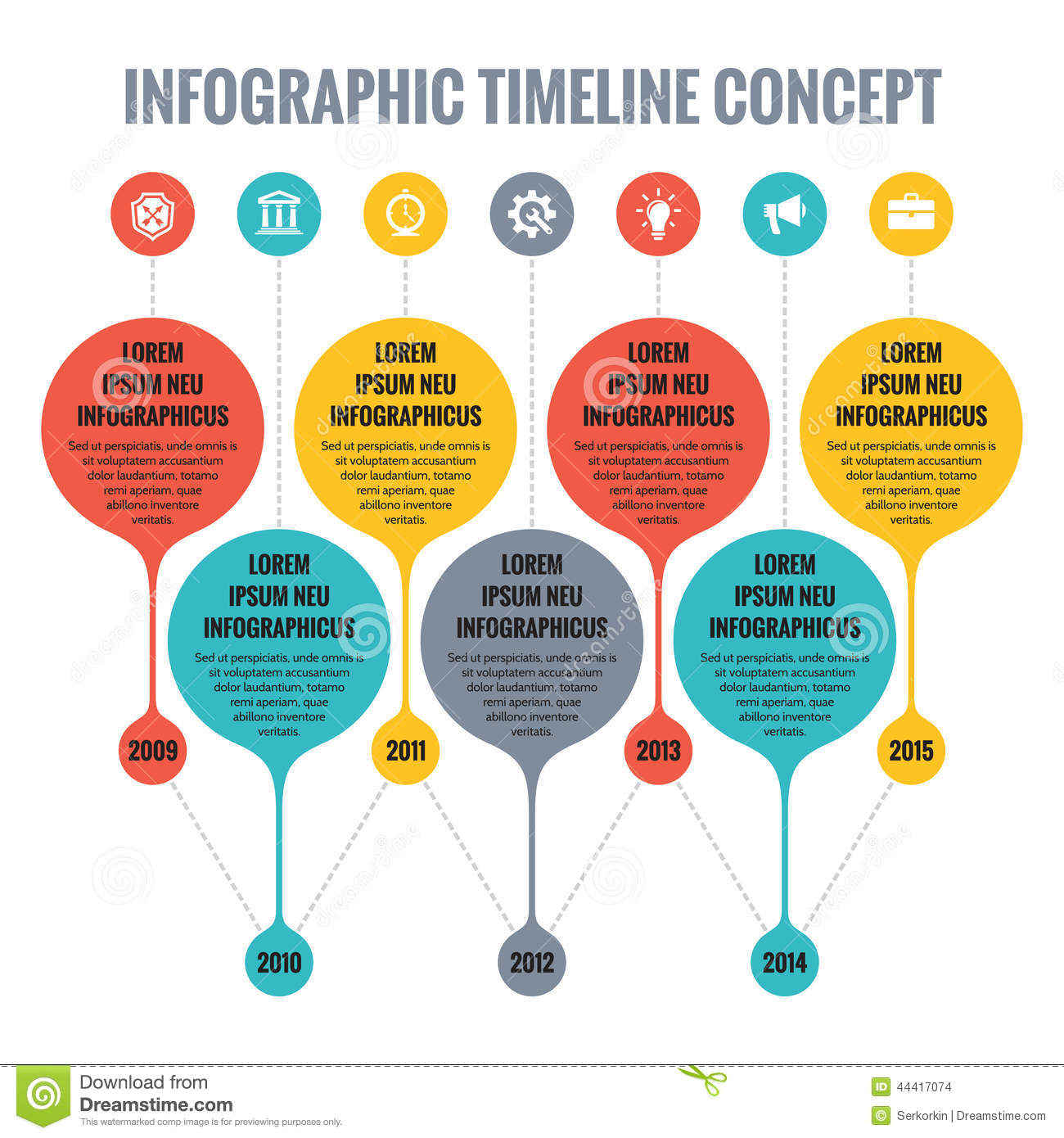 infographic vector concept flat design style timeline template - Web Design Project Ideas