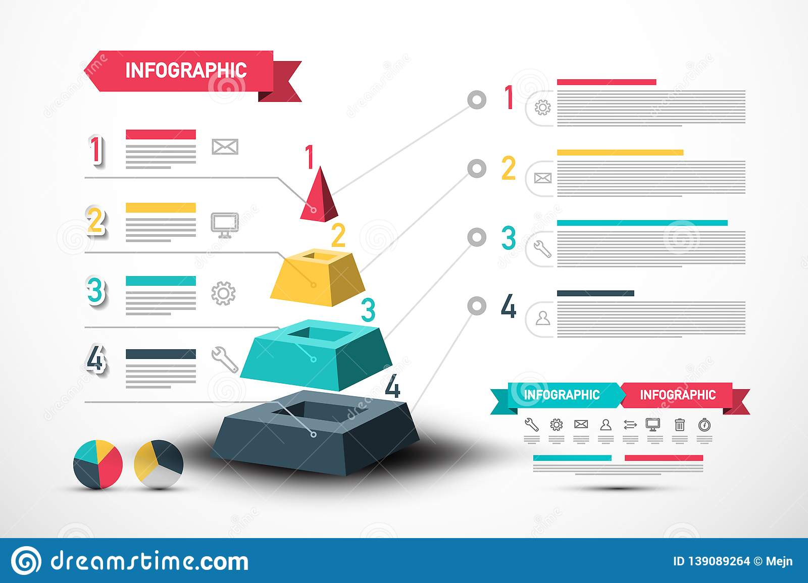 Infographic Vector Design with Pyramid and Sample Texts. Four Steps Infographics Layout.