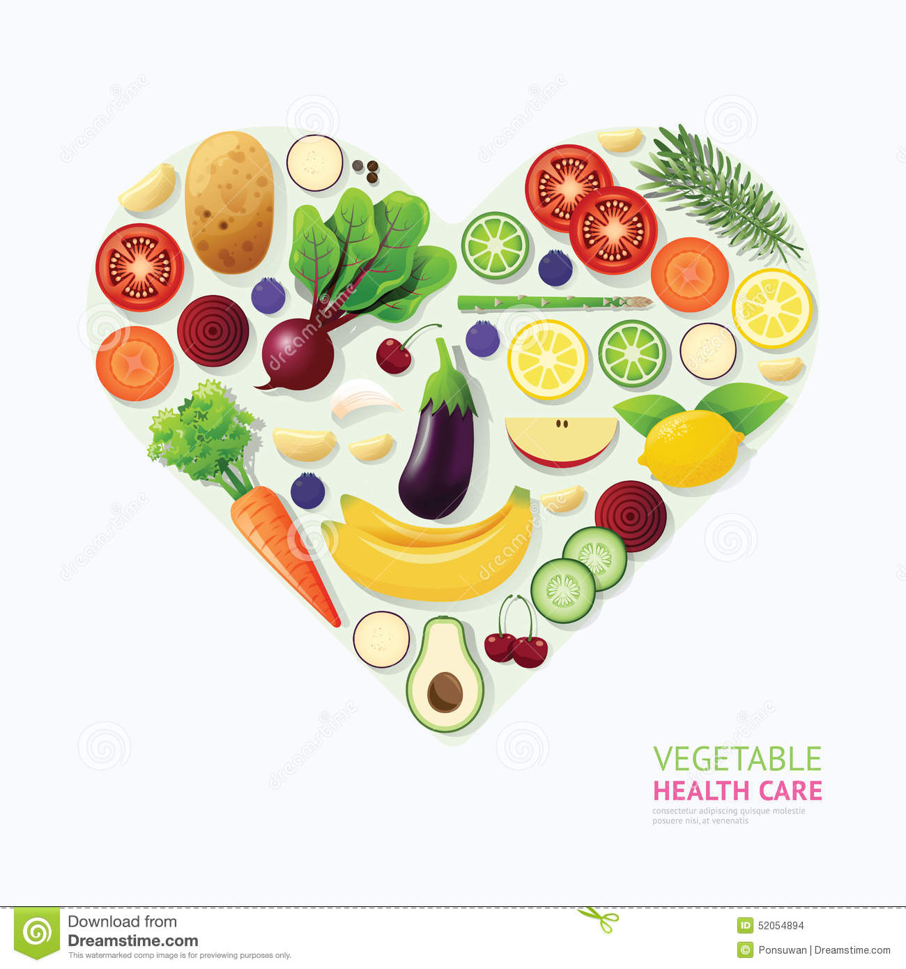 Health: Infographic Vegetable And Fruit Food Health Care Heart