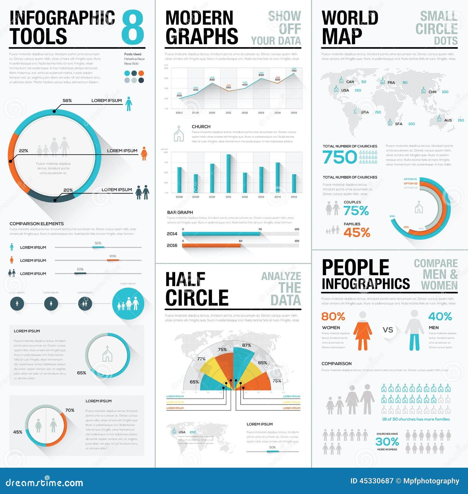 Infographic vektorbeståndsdelar för människa och för folk i blå och röd färg
