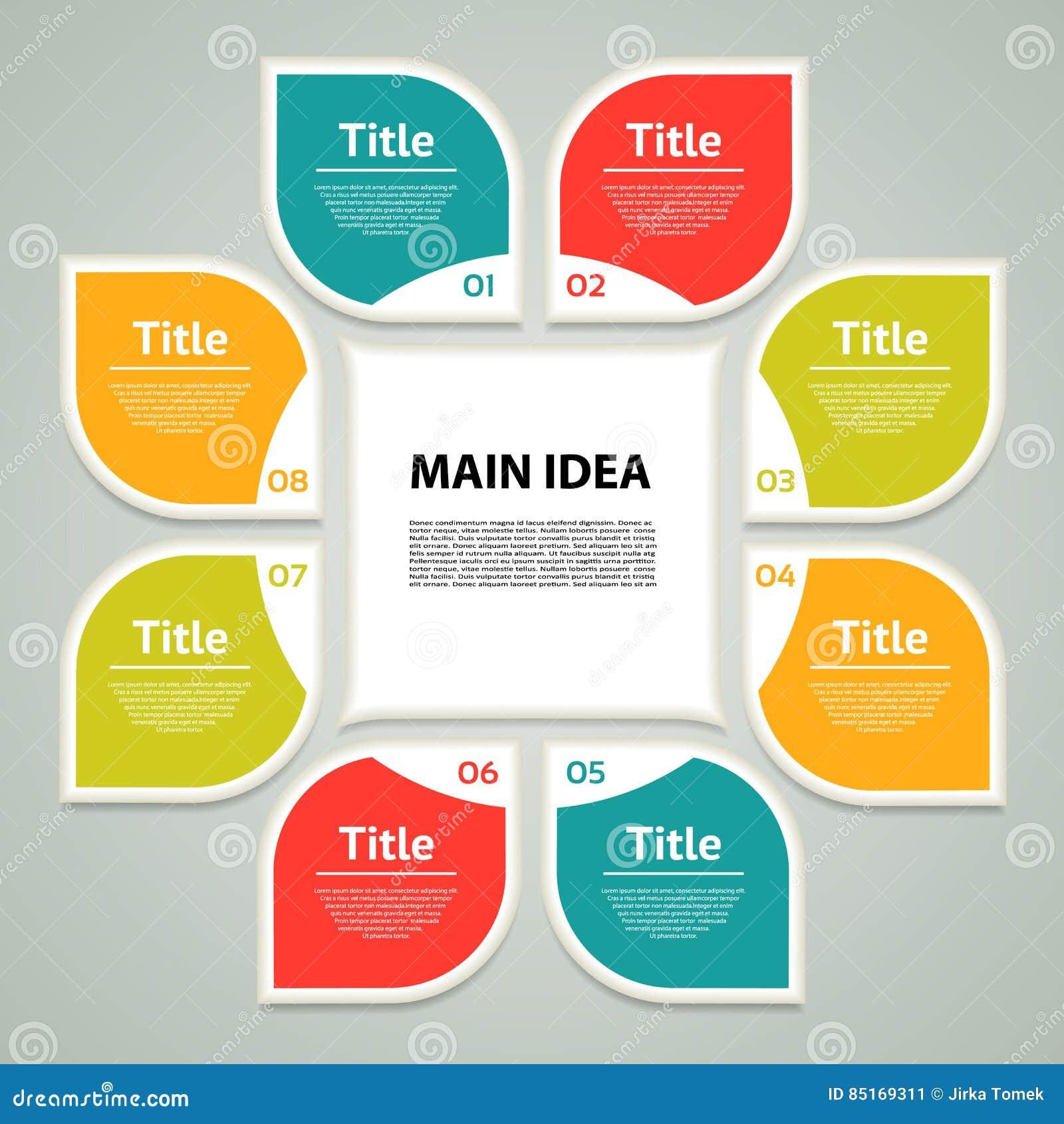 Infographic vektorcirkel Mall för cirkuleringsdiagram, graf, presentation och runt diagram Affärsidé med 8 alternativ, delar