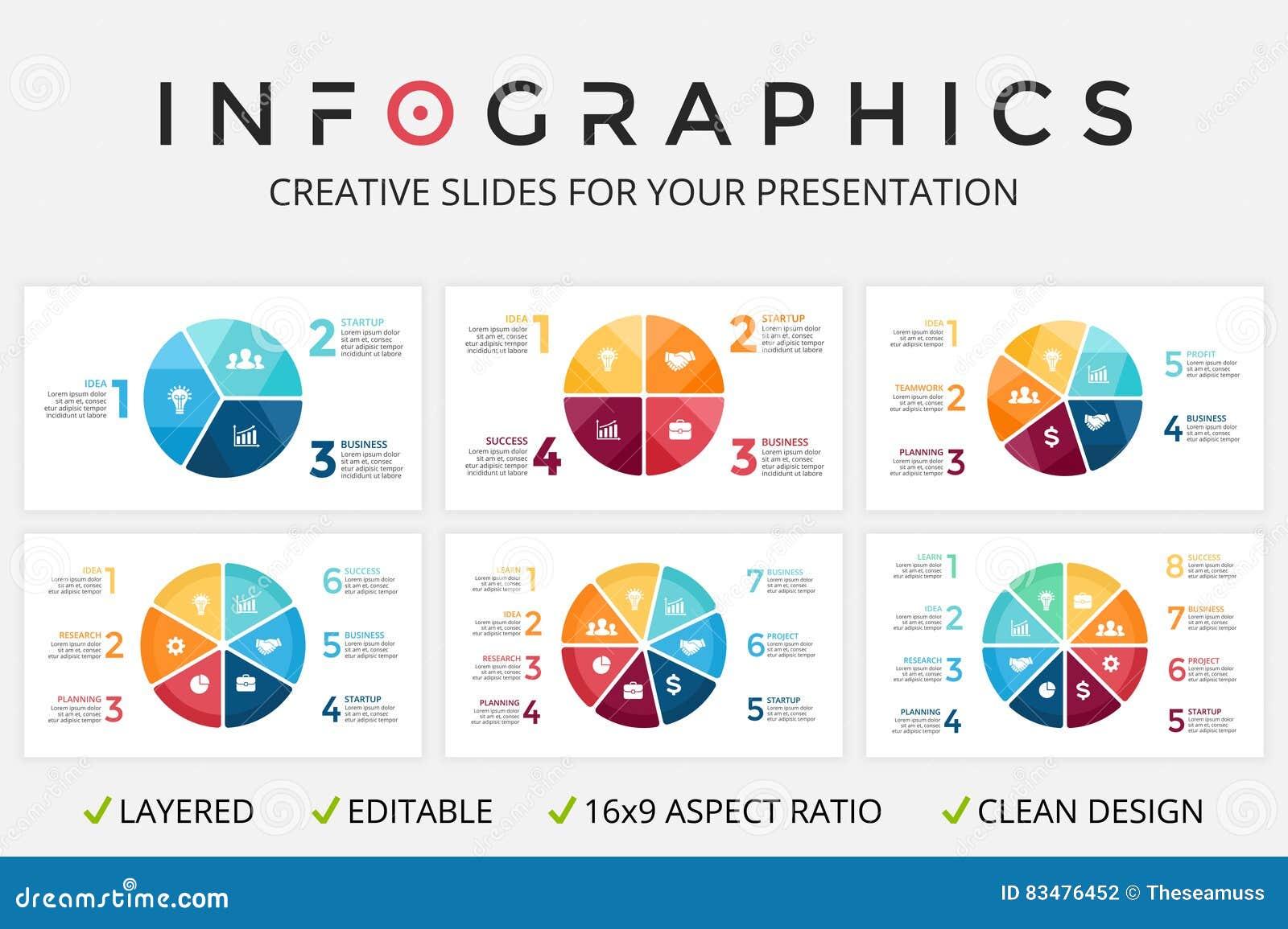 Infographic vektorcirkelpilar, cirkuleringsdiagram, graf, presentationsdiagram