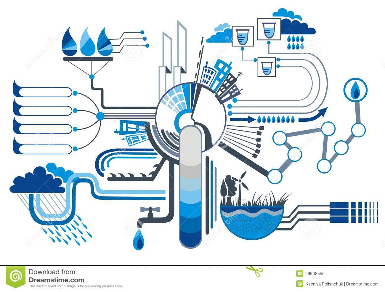 Water Infographic Elements Stock Vector Image Of Drinking