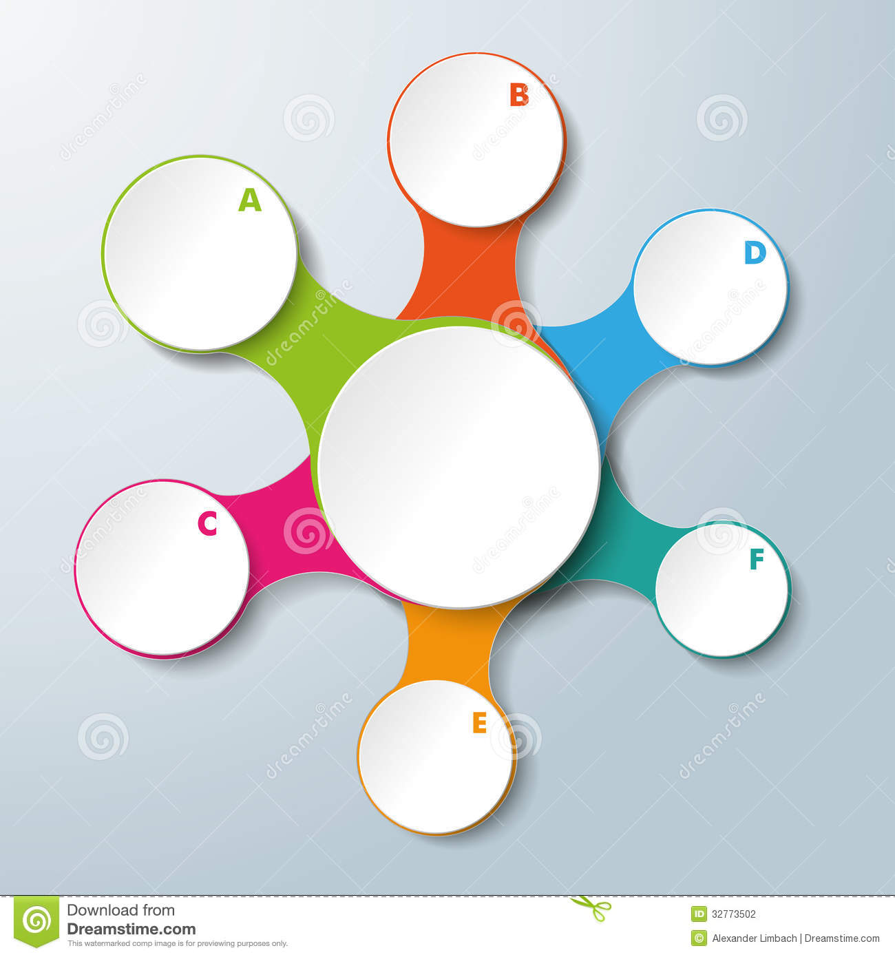 Infographic design on the grey background eps 10 vector file - Infographic White Connected Circles 6 Options Stock