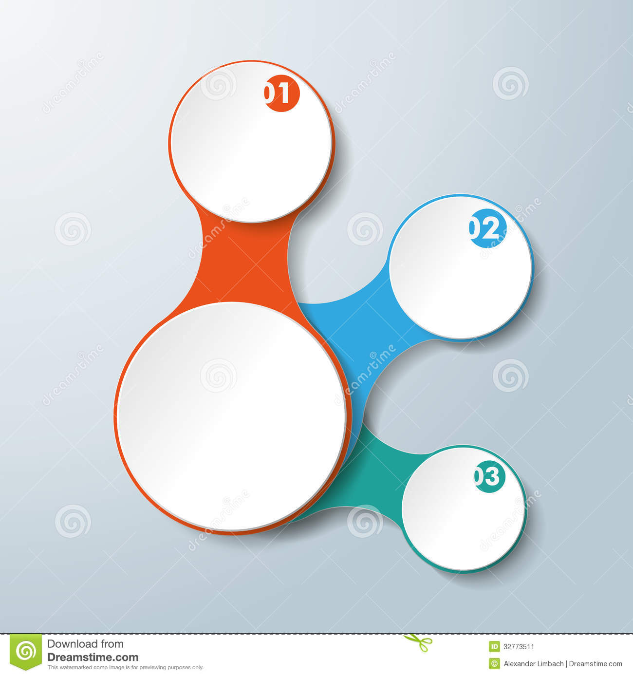 Infographic White Connected Circles 3 Options Stock Image